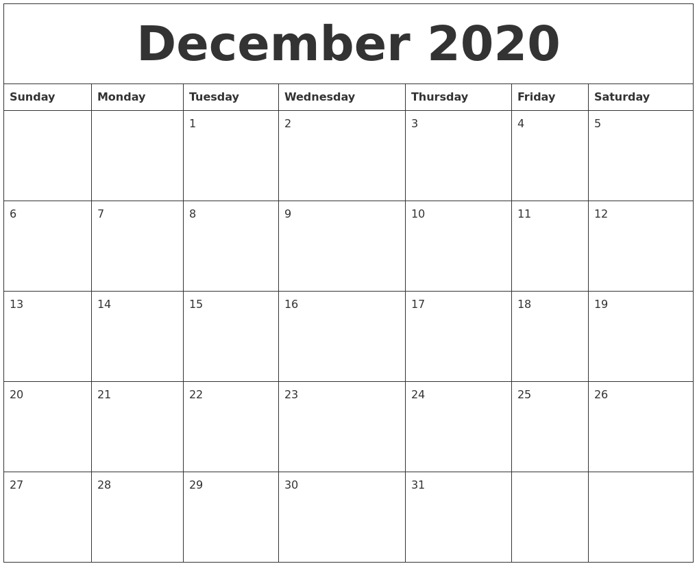 December 2020 Calendar inside Calendar Sunday To Saturday 2020