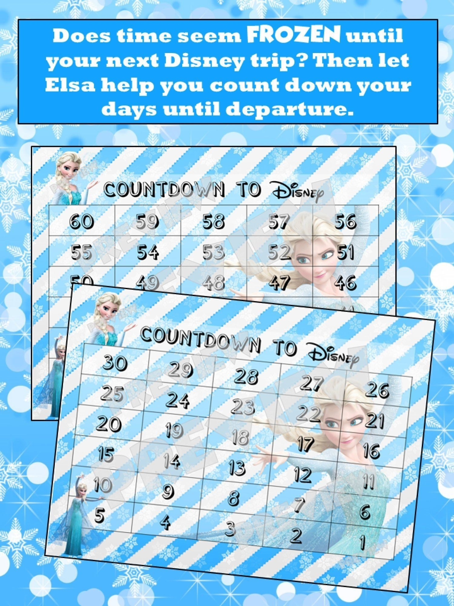 Disney Countdown Calendar - Elsa Frozen - Instant Download within Disney Cruise Countdown Calendar Out Of Paper