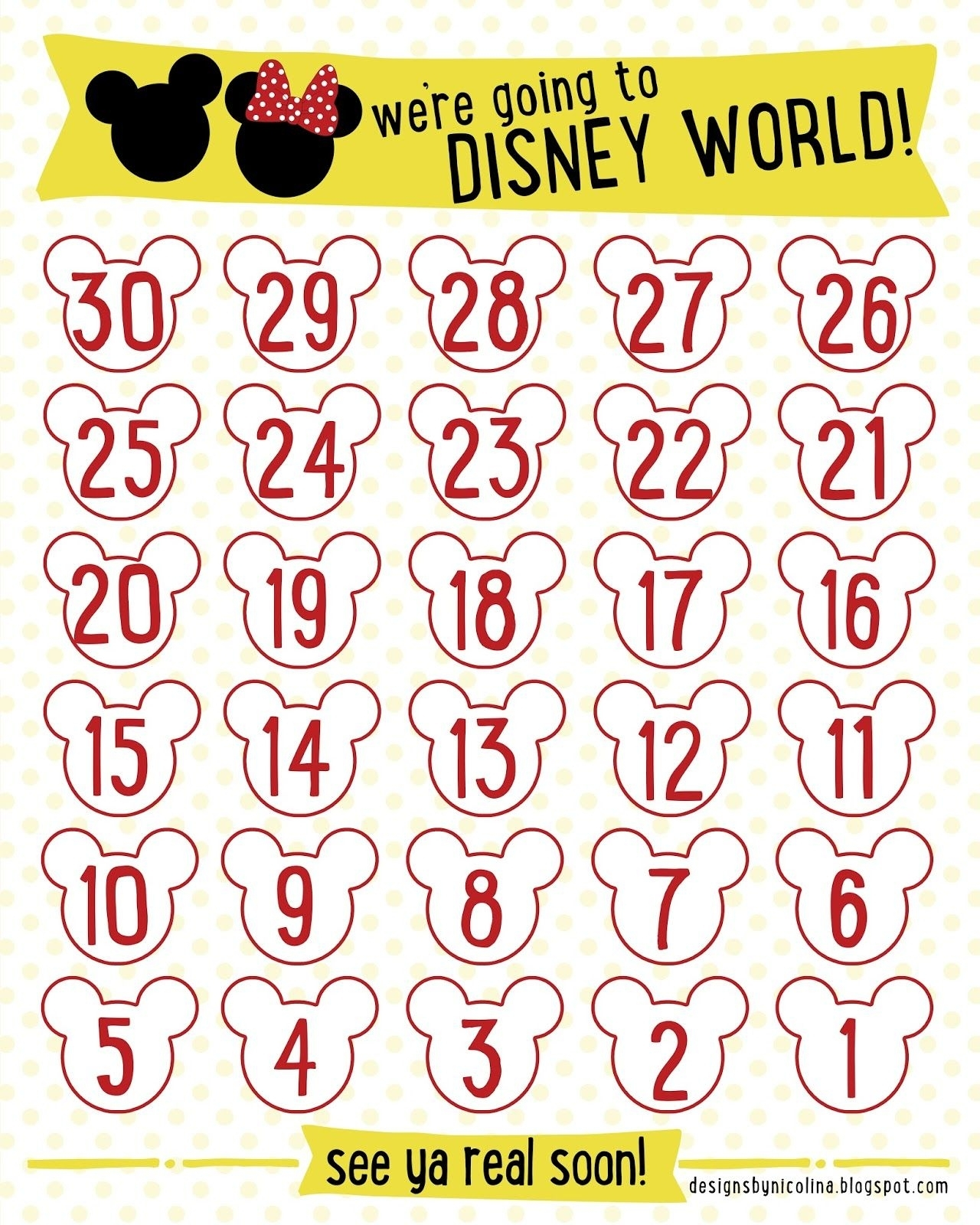 Disney Countdown! /// Free Printable /// | Disney Countdown intended for Disney Cruise Countdown Calendar Out Of Paper