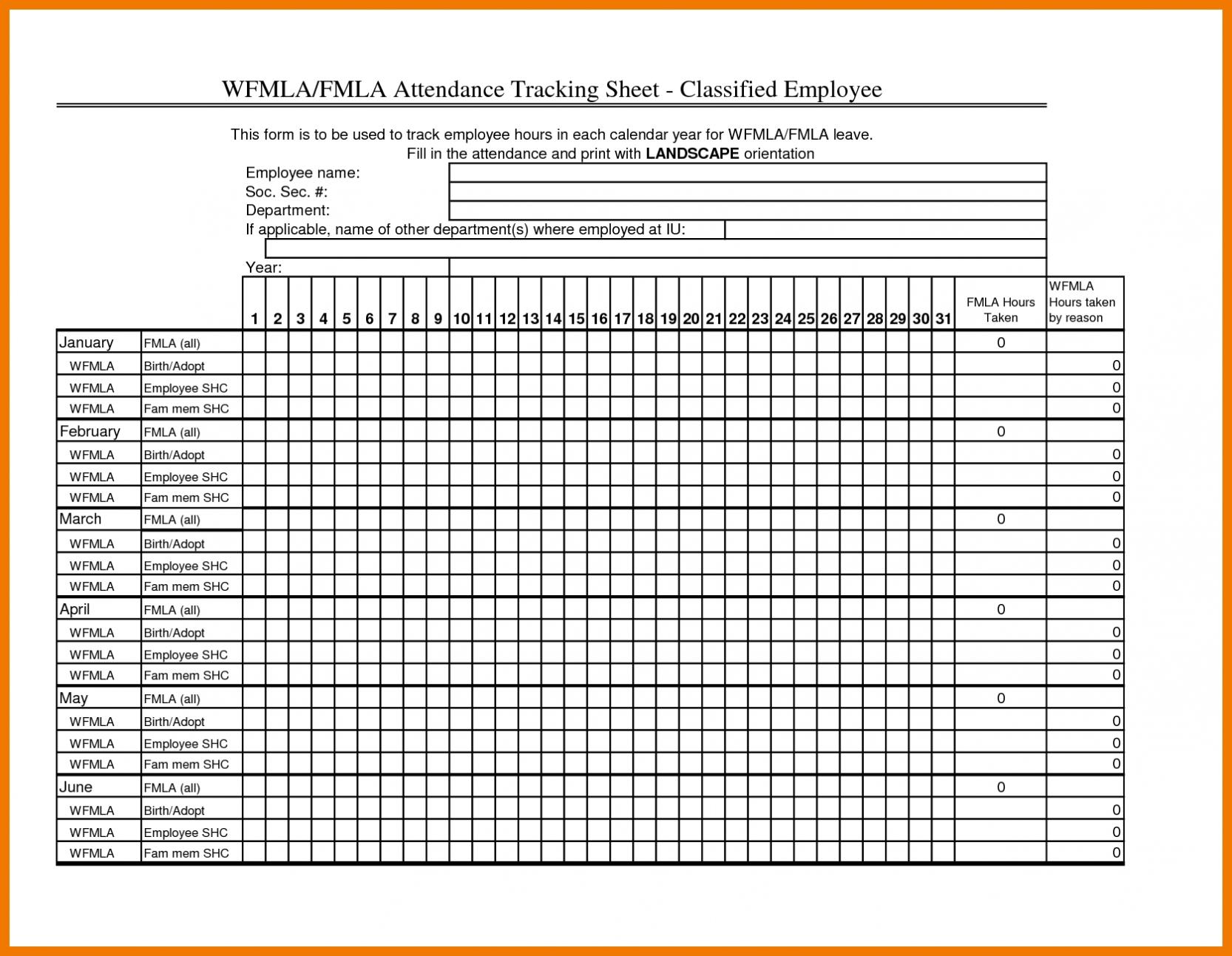 Employee Attendance Sheet Excel Calendar | Paper Worksheets regarding Employee Attendance Calendar 2020 Printable