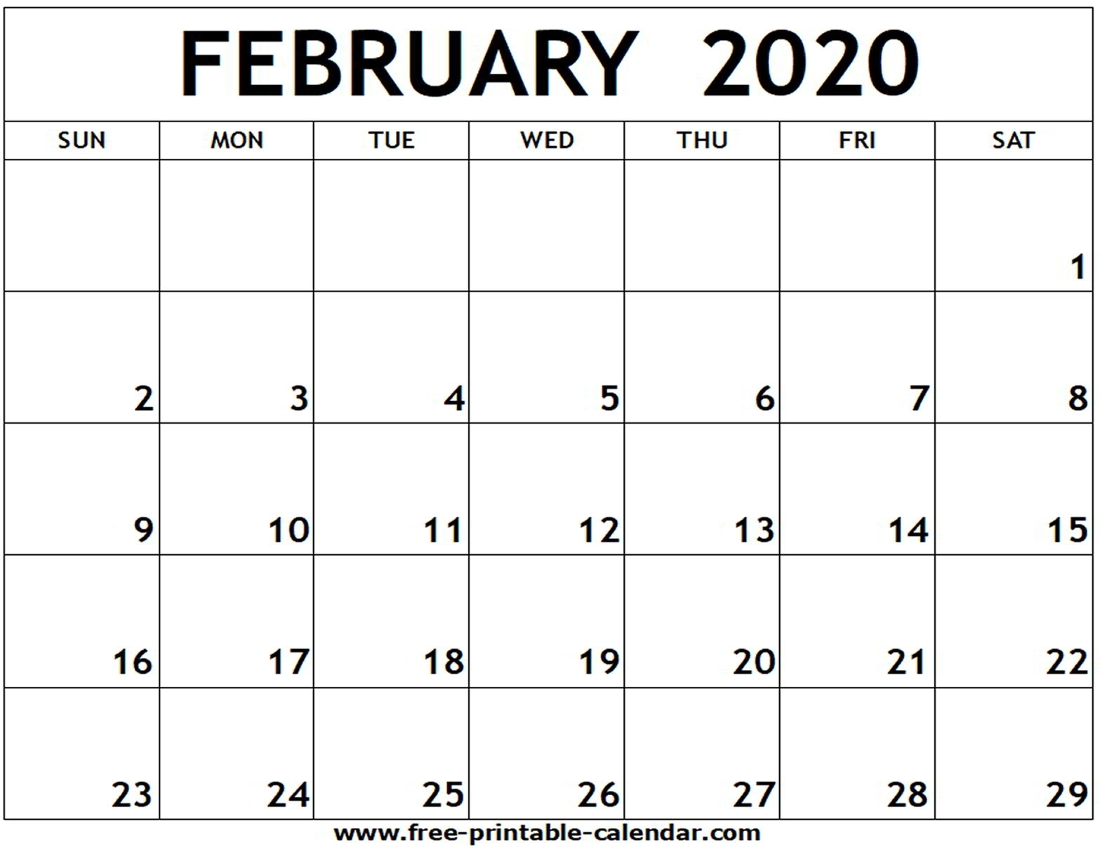 February 2020 Printable Calendar - Free-Printable-Calendar intended for Printable Fill In Calendar 2020