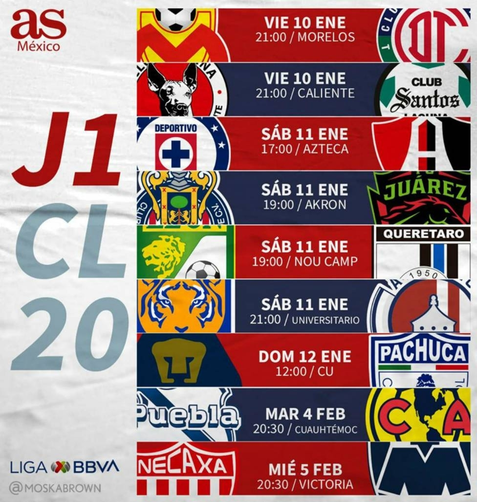 Fechas Y Horarios De La Jornada 1 De La Liga Mx: Clausura with Liga Mx Clausura 2020 Fechas