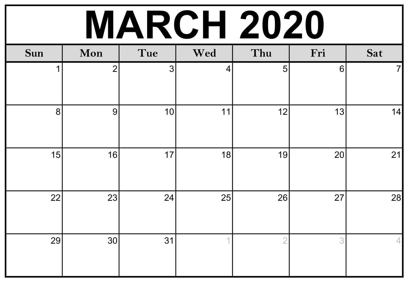Fillable March 2020 Calendar Template Word, Pdf, Excel for Printable Fill In Calendar 2020