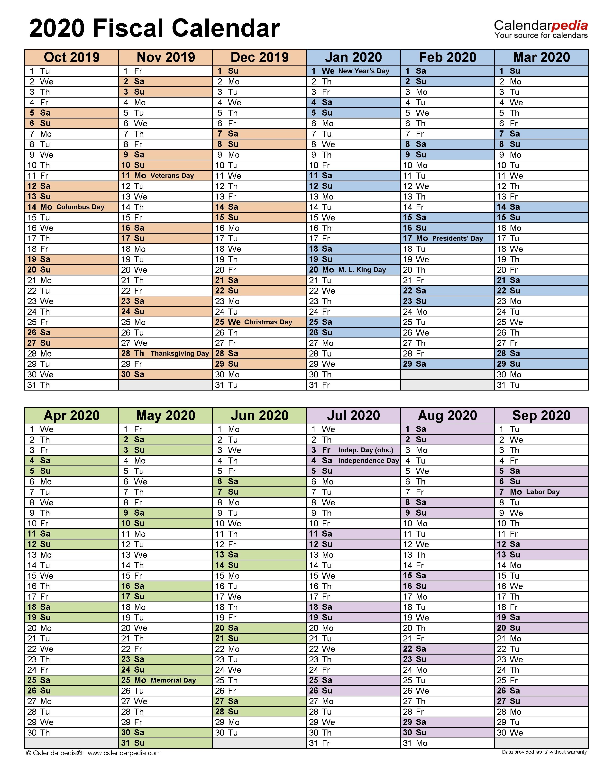 Fiscal Calendars 2020 - Free Printable Pdf Templates for 2020 Fiscal Calendar 4 4 5