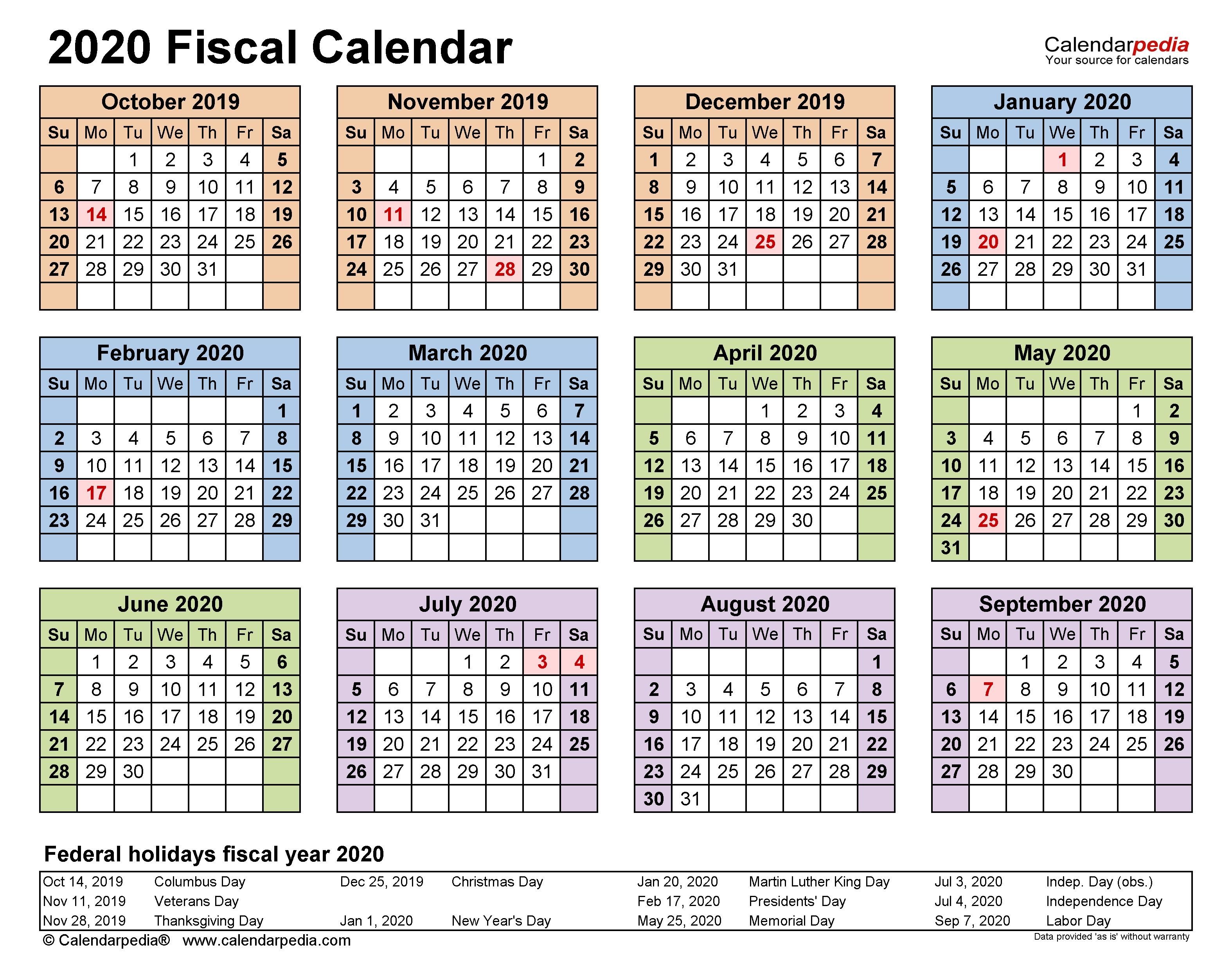 Fiscal Calendars 2020 - Free Printable Pdf Templates for Financial Year Week Numbers 2020