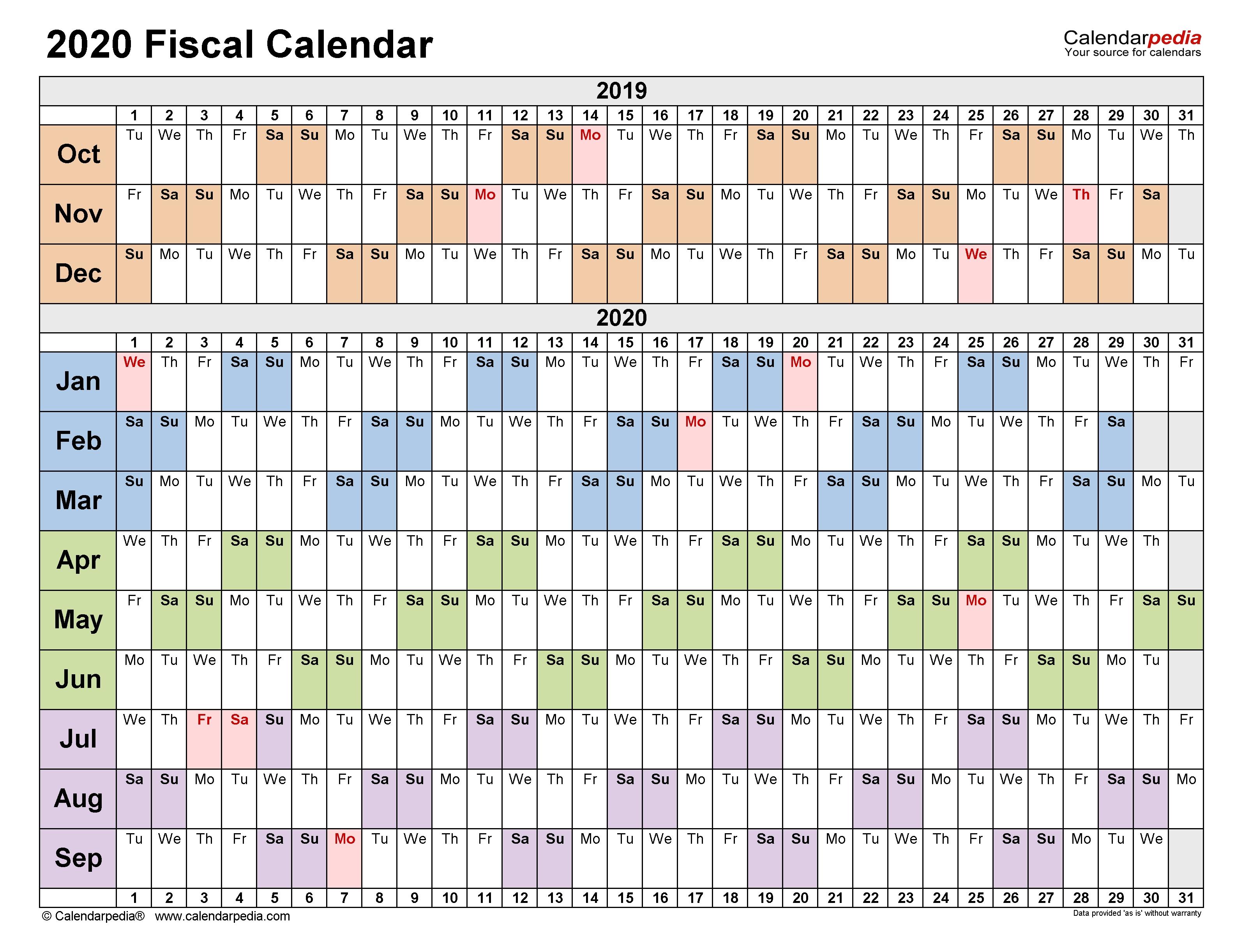 Fiscal Calendars 2020 - Free Printable Pdf Templates pertaining to 2020 Fiscal Calendar 4 4 5