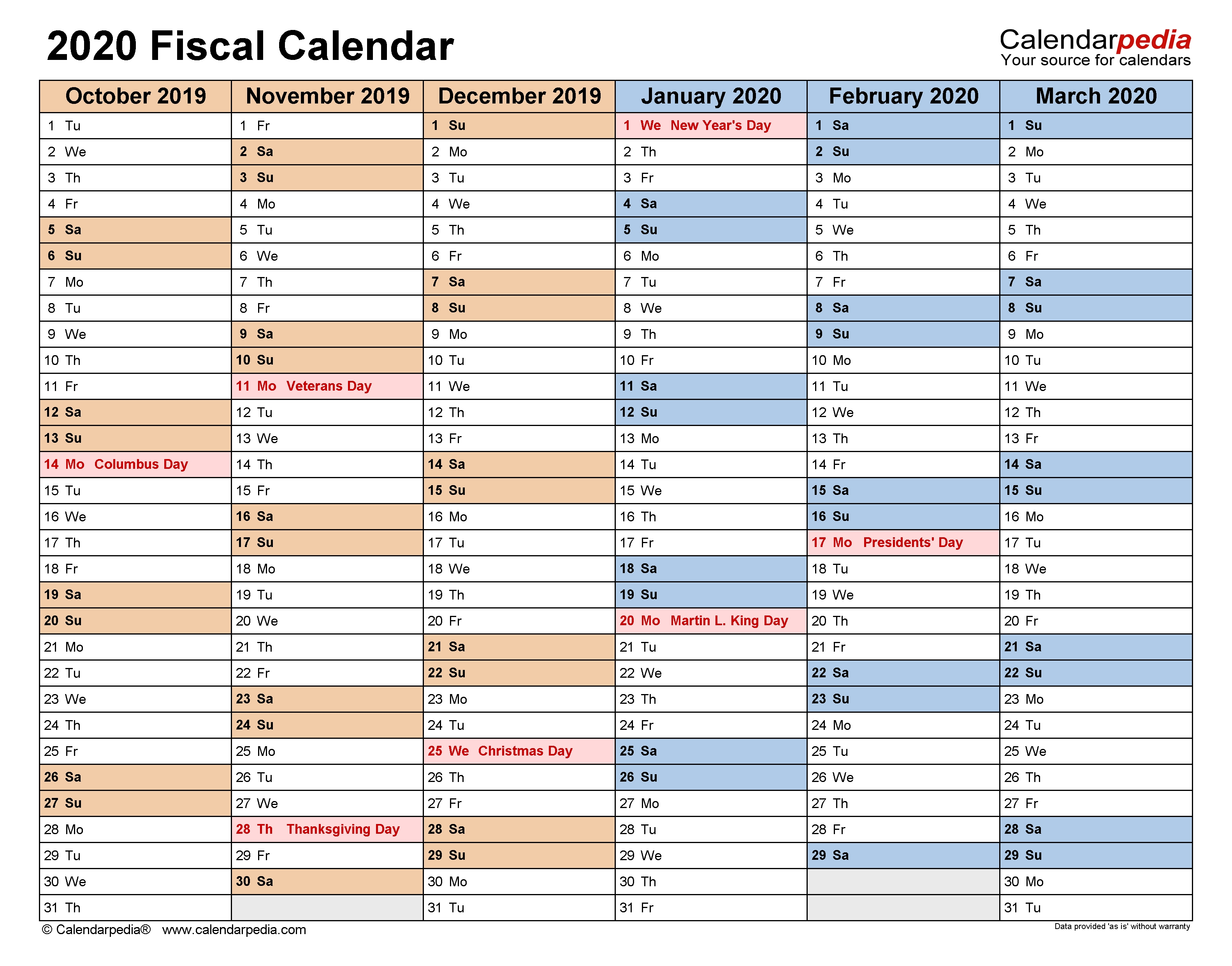 Fiscal Calendars 2020 - Free Printable Pdf Templates throughout Financial Year Calendar 2019 2020