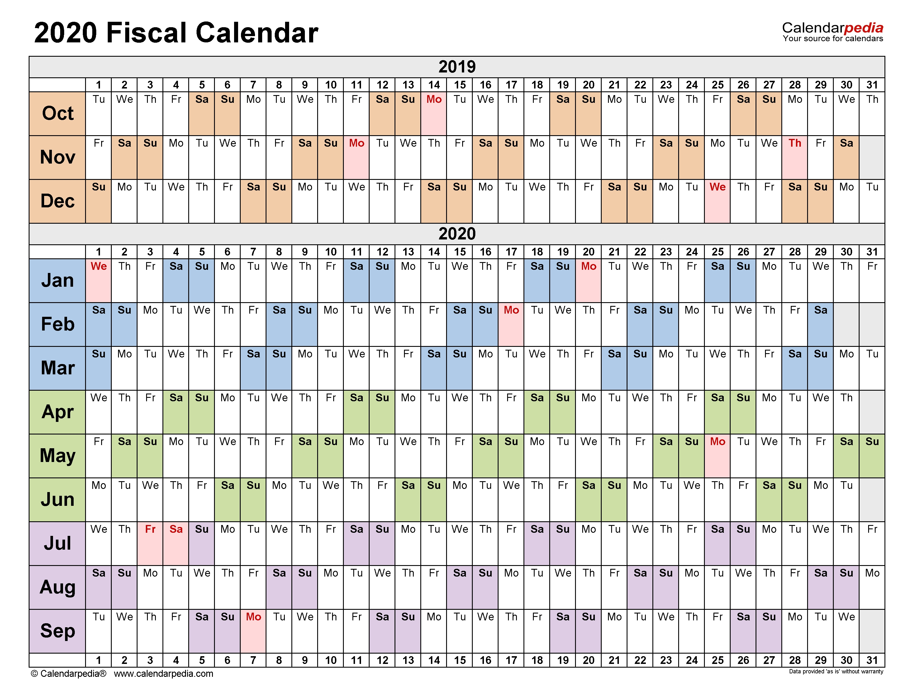 Fiscal Calendars 2020 - Free Printable Pdf Templates with Financial Year Calendar 2019 2020