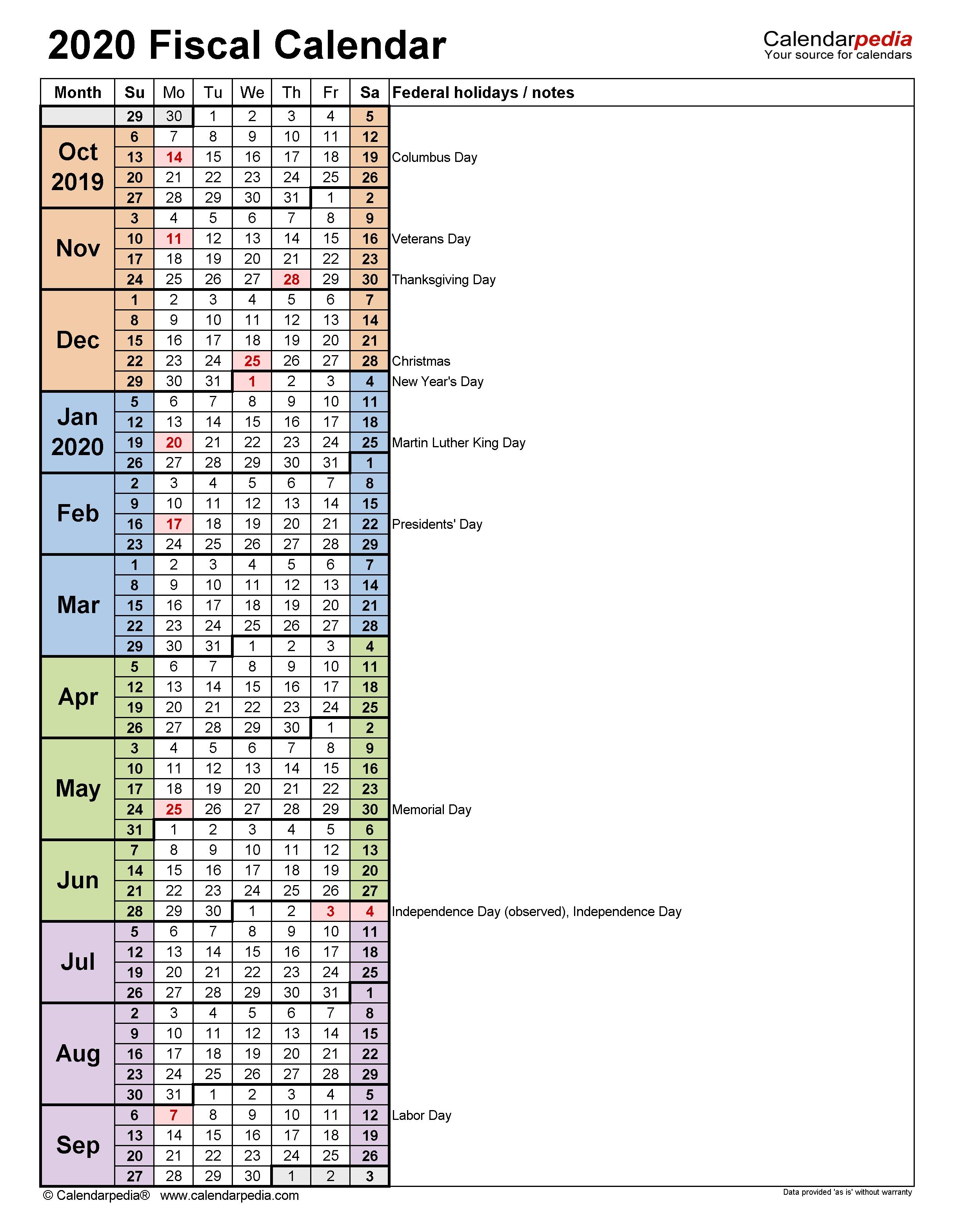Fiscal Calendars 2020 - Free Printable Pdf Templates with regard to 2020 Fiscal Calendar 4 4 5