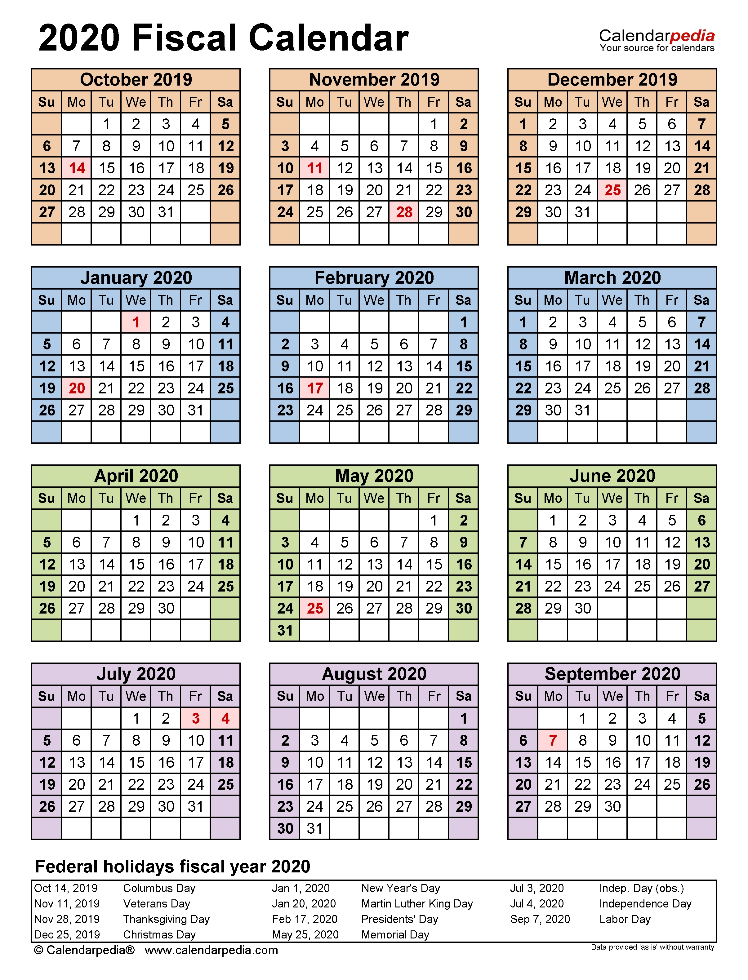 Fiscal Calendars 2020 - Free Printable Pdf Templates with regard to Week Numbers Fiscal Year 2019-2020