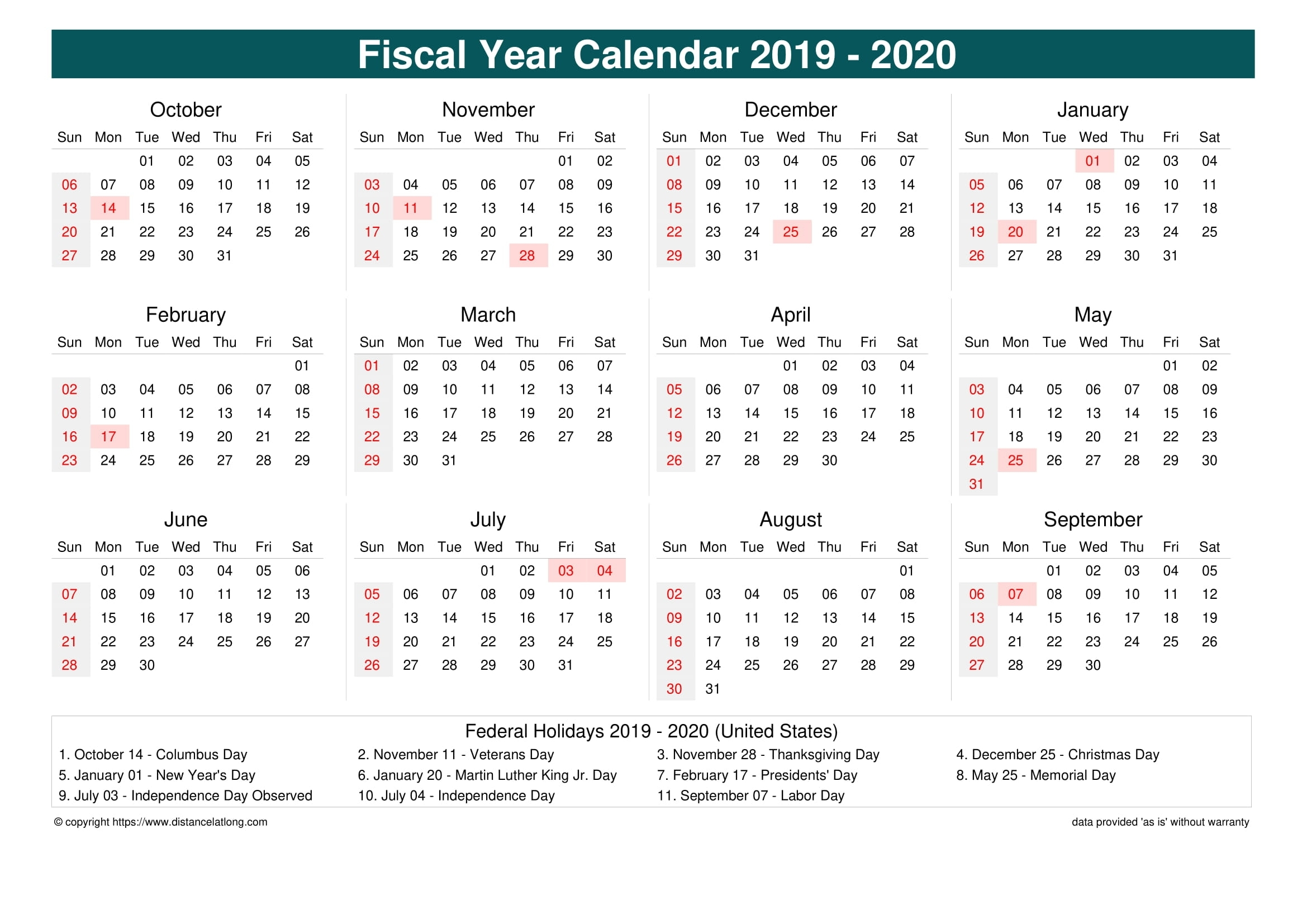 Fiscal Year 2019-2020 Calendar Templates, Free Printable with Week Numbers Fiscal Year 2019-2020
