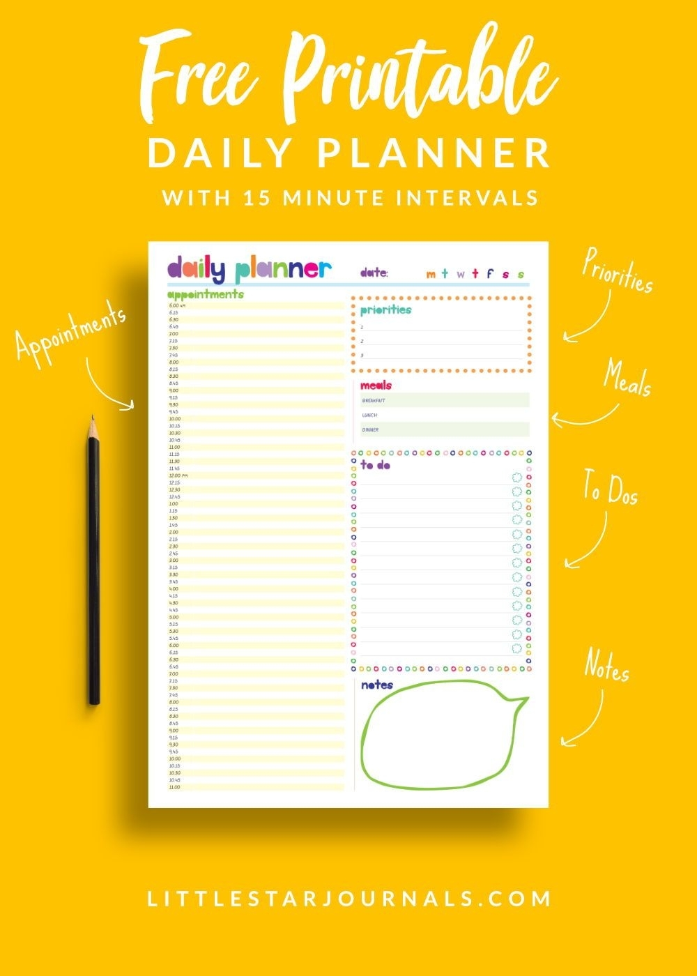 Free 15 Minute Daily Planner Printable | Daily Planner pertaining to Free Printable 15 Minute Planner