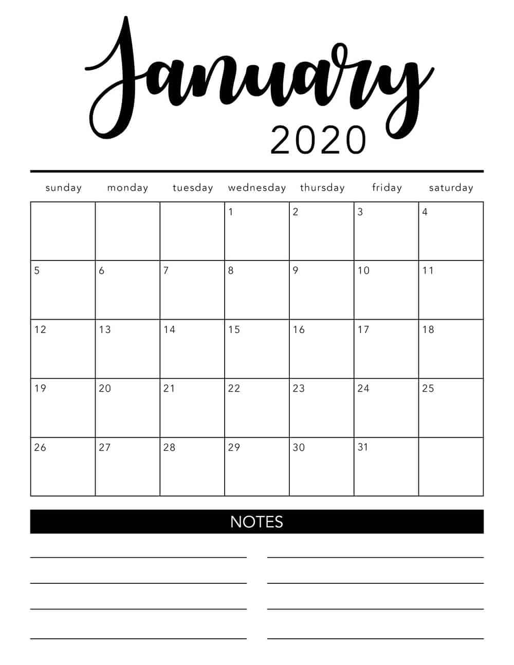 Free 2020 Printable Calendar Template (2 Colors!) - I Heart intended for Free Printable Monthly 2020 Calendar