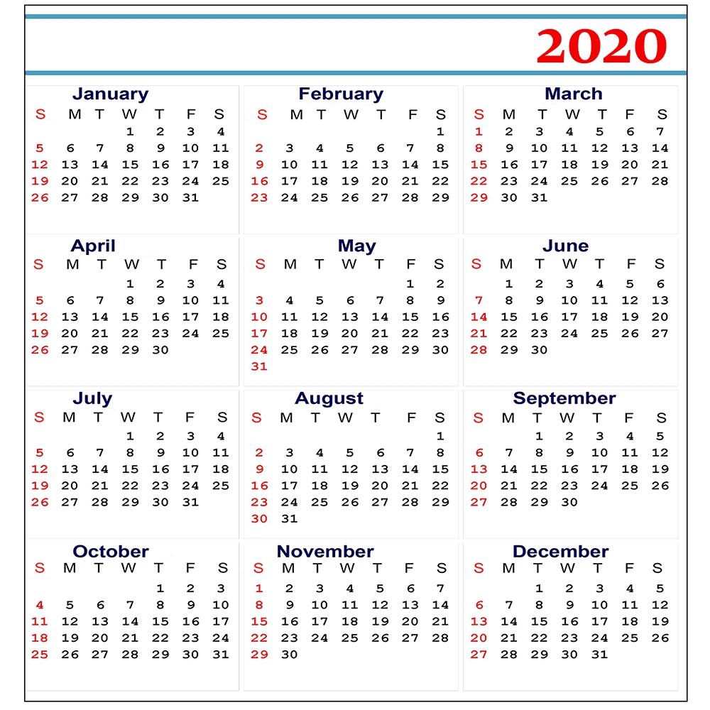 Free 2020 Printable Calendar Templates   Editable Calendars 2020 inside 2020 Calendar Free Printable Liturgical