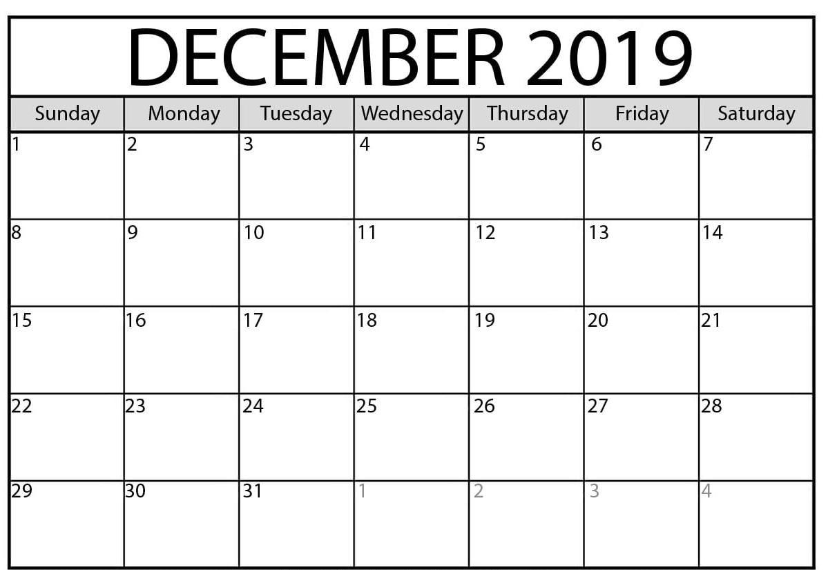 Free Blank December Calendar 2019 Printable Template Pdf pertaining to 2019 Calendar Downloadable Free Word