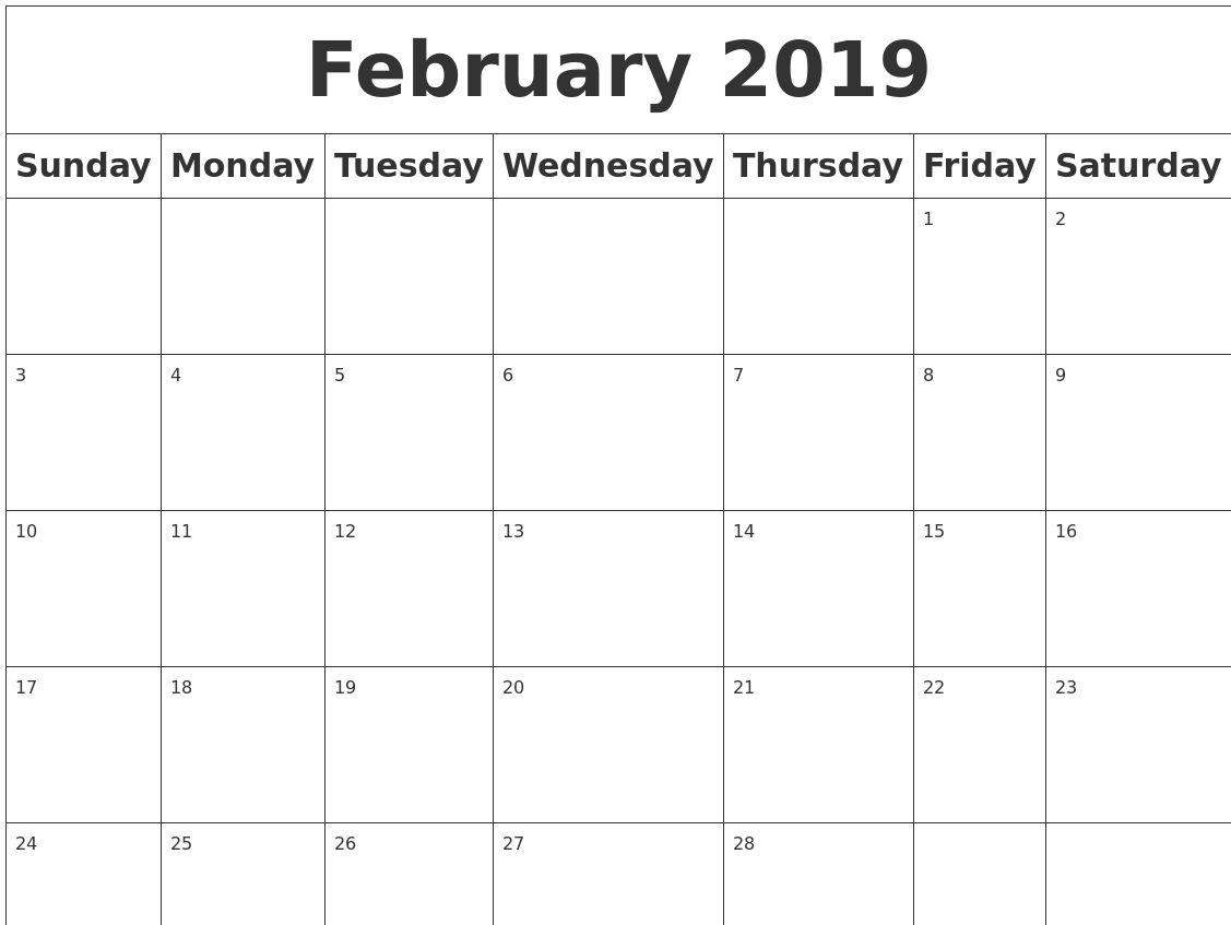 Free February 2019 Calendar Pdf Excel Word Free Calendar And within 2019 Calendar Downloadable Free Word