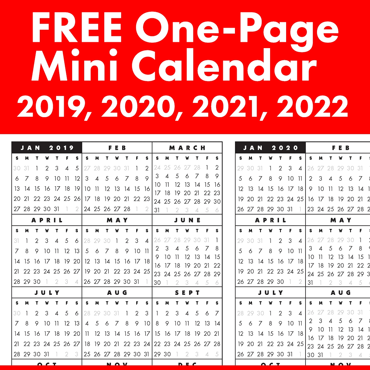 Free Full-Year, Single-Page 2019, 2020, 2021, 2022 At A intended for Small Yearly Calendars For 2021 And 2022