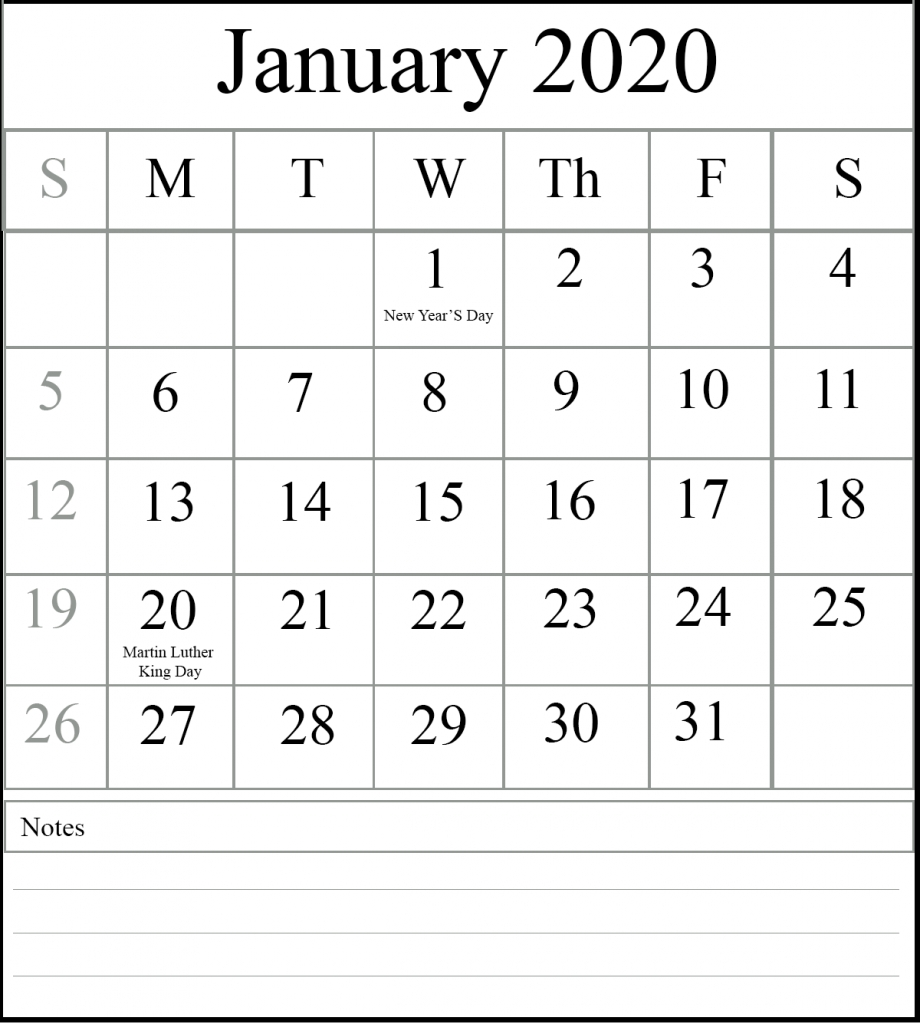 Free January 2020 Printable Calendar With Holidays in Free Printable Calendar 2020 Waterproof
