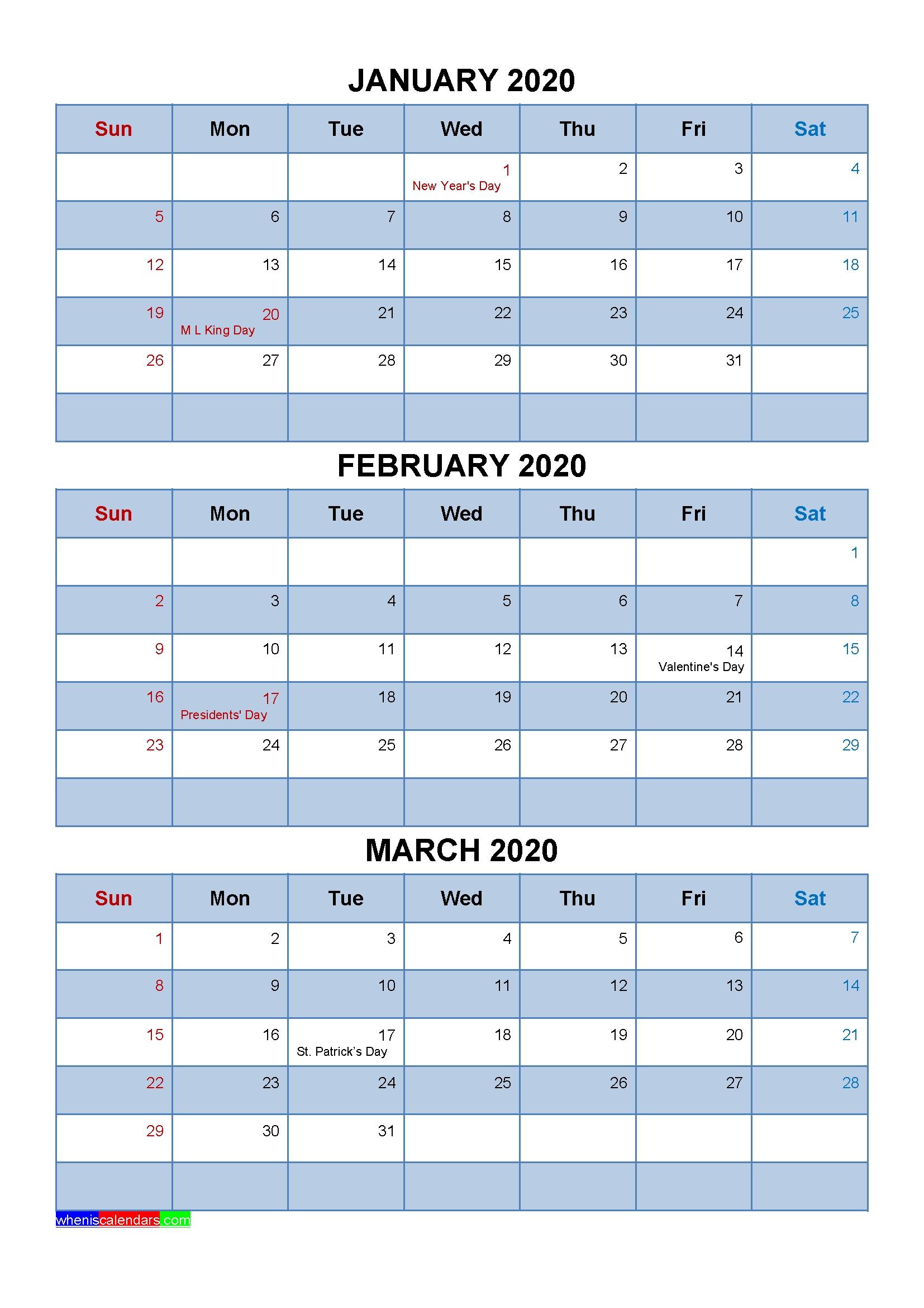 Free January February March 2020 Printable Calendar Template throughout 2020 Printable Quarterly Calendar Template
