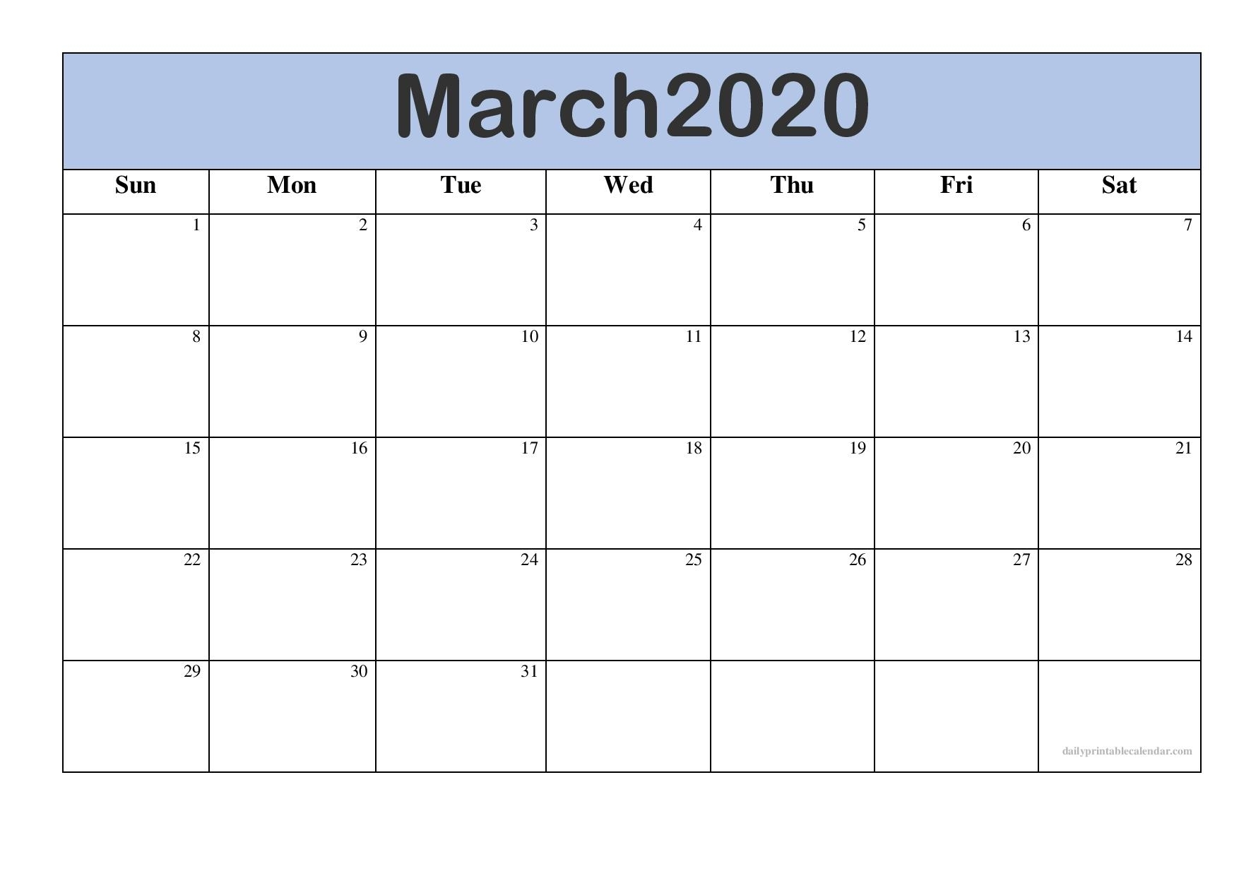 Free March 2020 Calendar Printable [Monthly Templates inside 2020 Free Printable Calendars Without Downloading Monthly