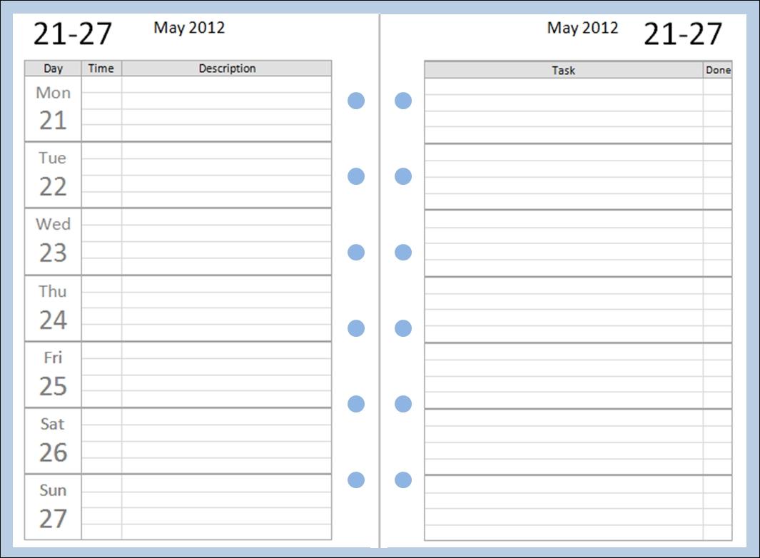 Free Pocket Filofax Diary Layouts To Download   Filofax with Free Printable Pocket Size Calanders