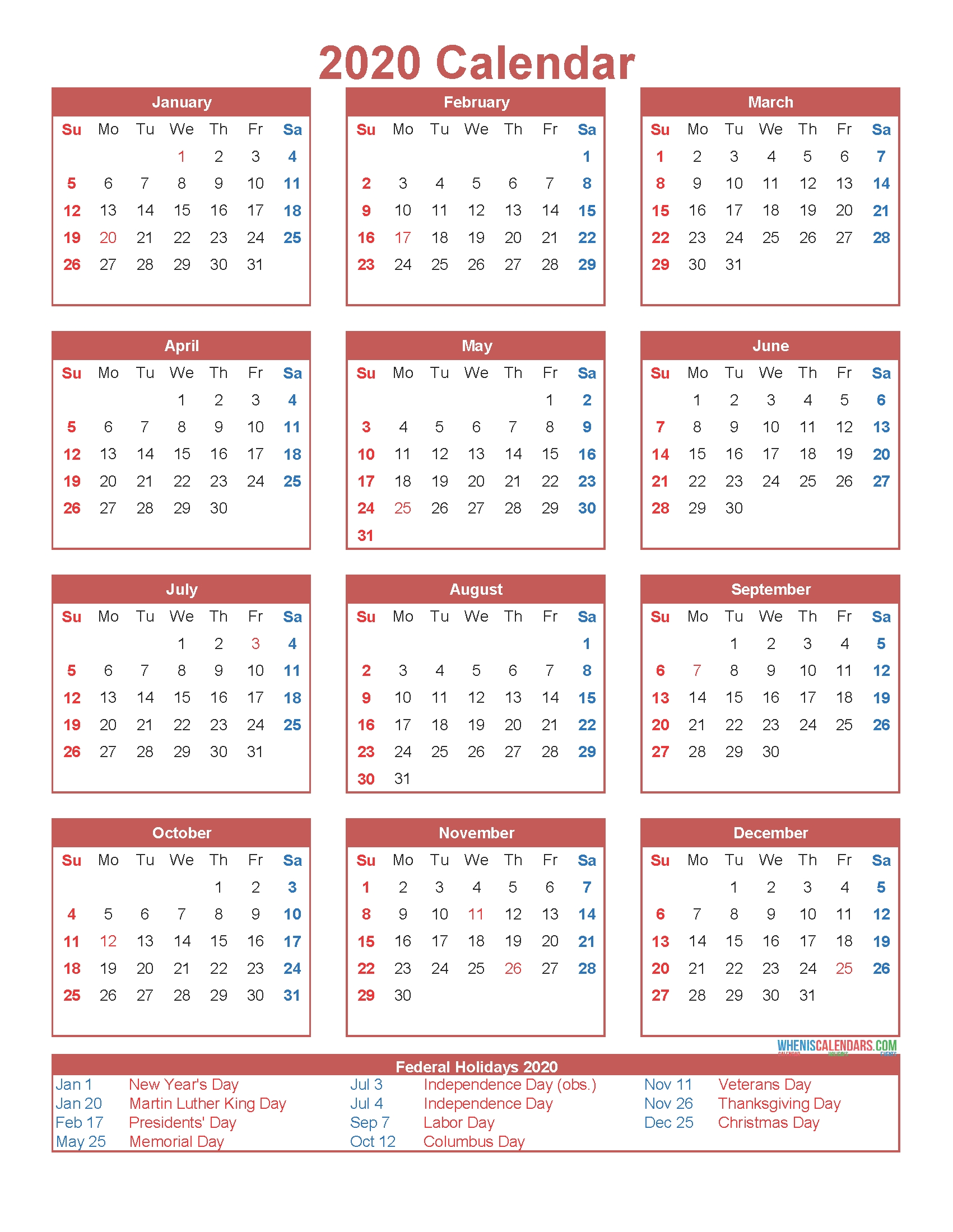 Free Printable 12 Month Calendar On One Page 2020 | Free intended for 2020 Calendar Year To A Page