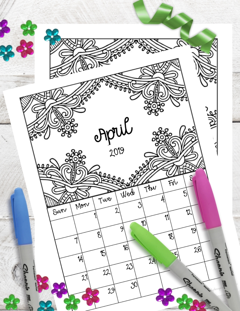 Free Printable 2019 Monthly Coloring Calendar Pages - for Free Printable Coloring Calendar 2020