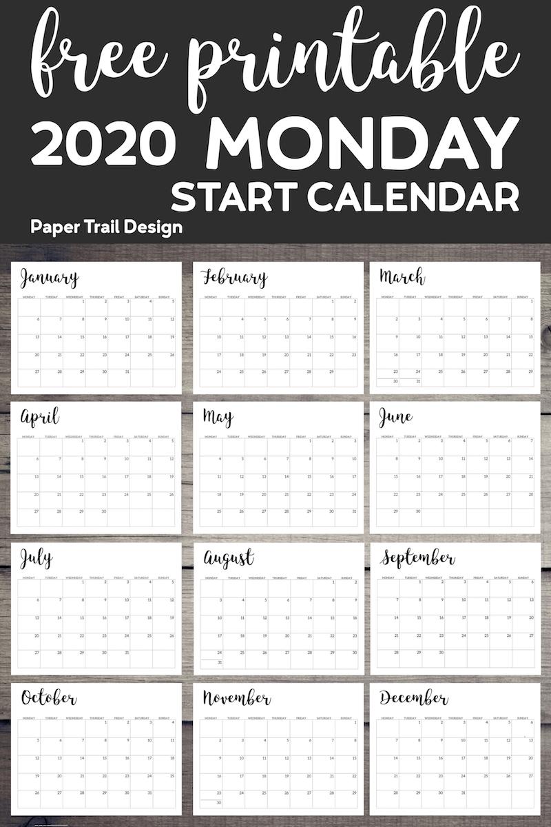 Free Printable 2020 Calendar - Monday Start | Paper Trail Design inside Free 2020 Calendar Monday Start