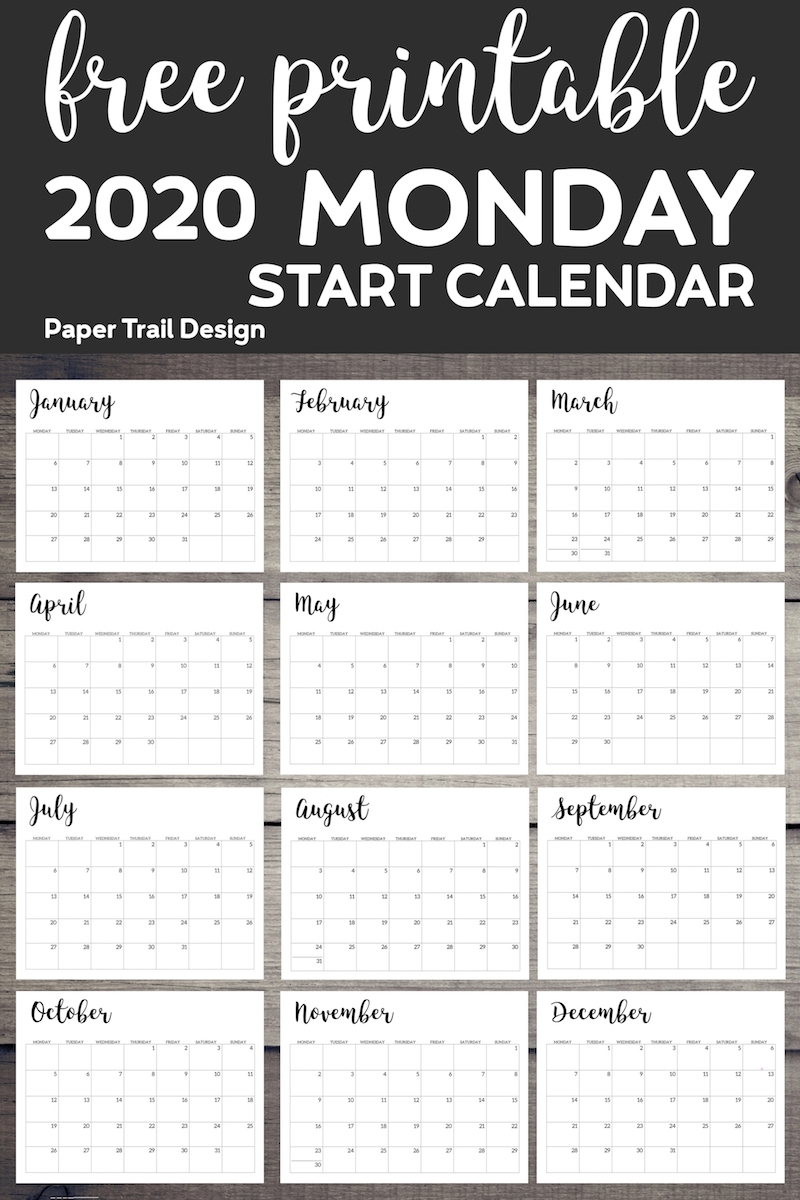 Free Printable 2020 Calendar - Monday Start | Paper Trail Design within Free 2020 Calendar Starting With Monday