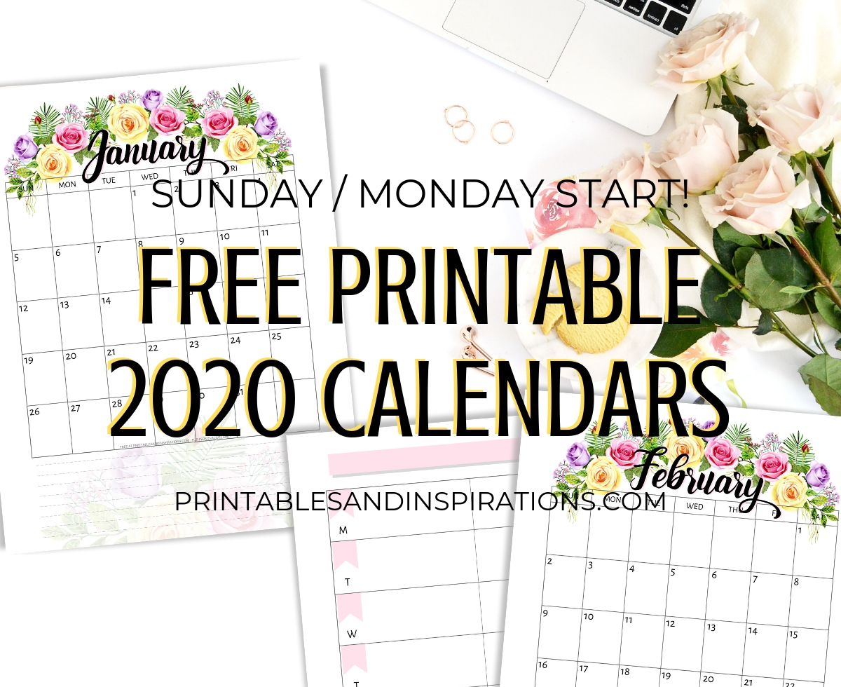 Free Printable 2020 Calendar With Flowers - Printables And within Free Printable 2020 Calendars You Don't Have To Download