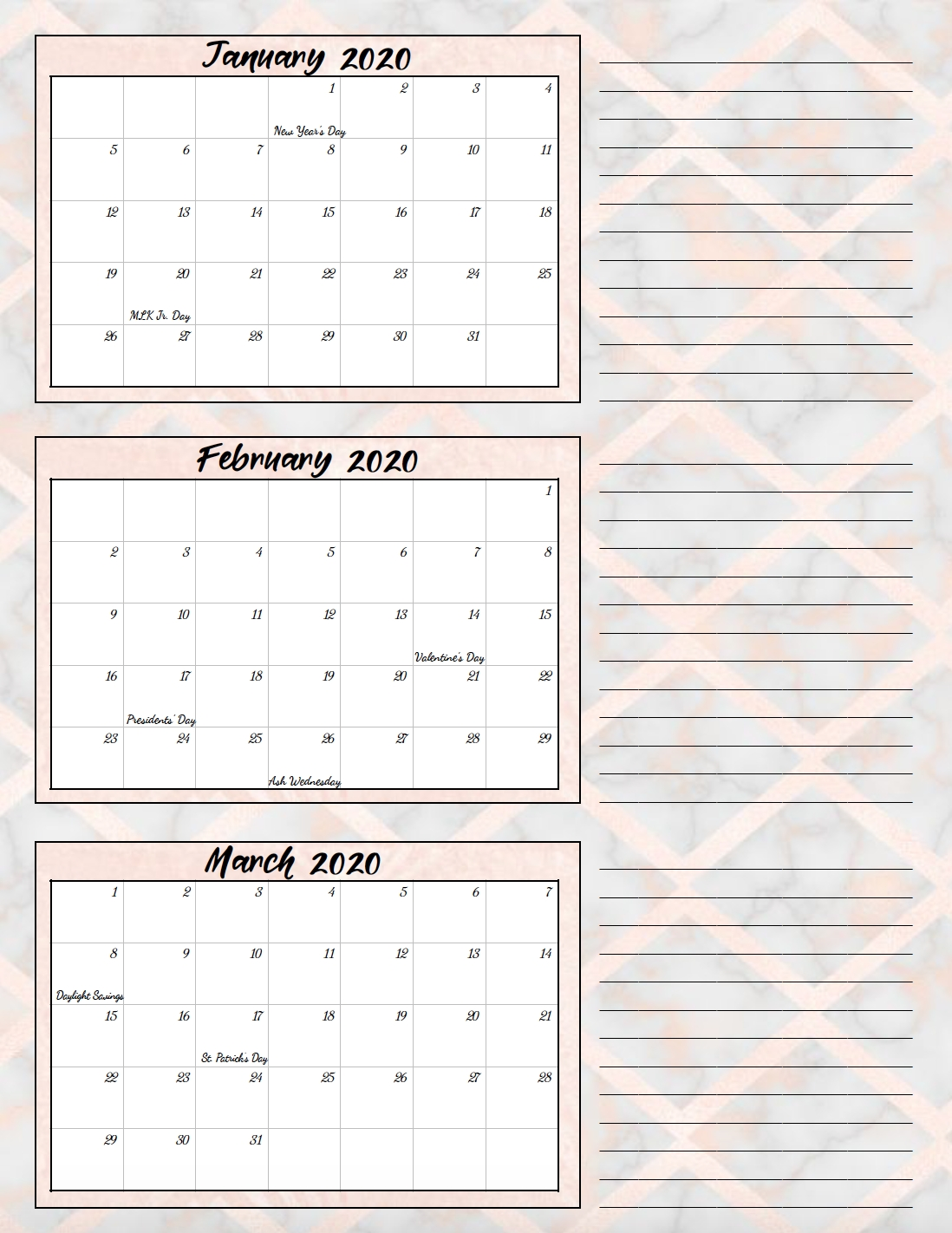 Free Printable 2020 Quarterly Calendars With Holidays: 3 for 2020 Printable Quarterly Calendar Template