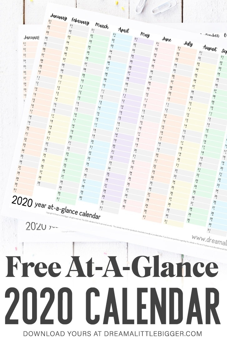 Free Printable At-A-Glance Calendar ⋆ Dream A Little Bigger for Free 2020 Year At A Glance Calendars