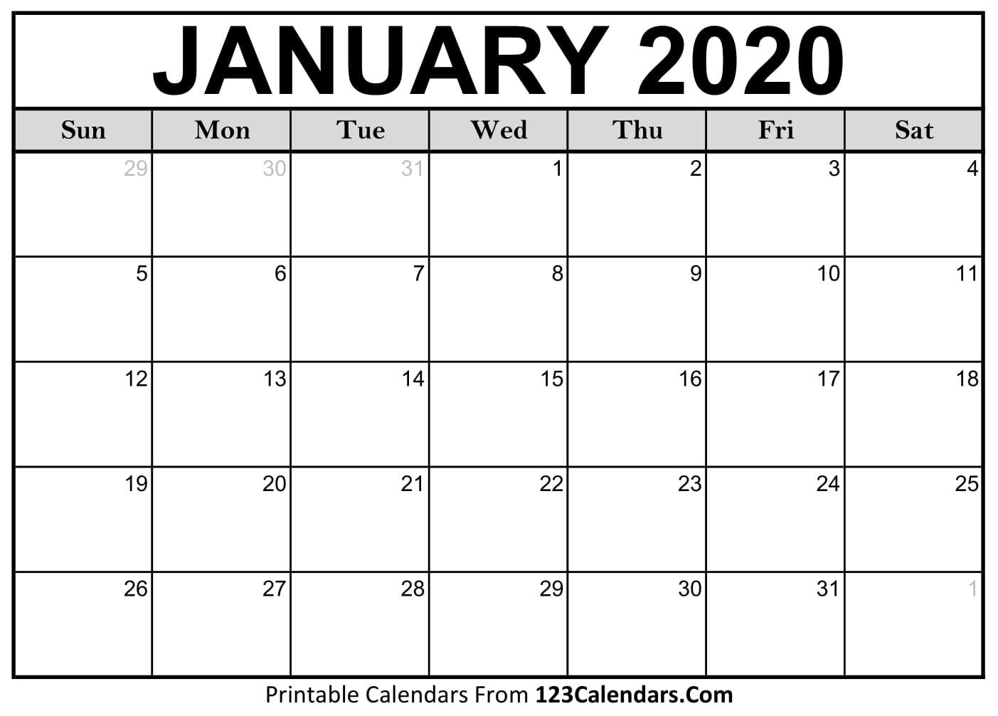 Free Printable Calendar   123Calendars within Printable Fill In Calendar 2020