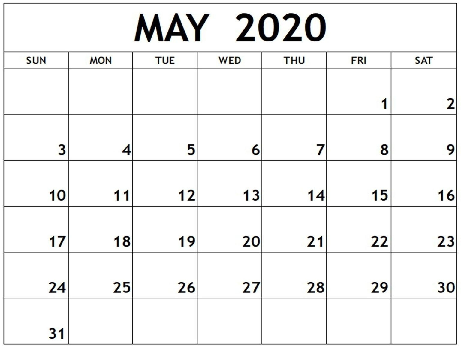 Free Printable Calendar May 2020 Download | Free Printable with Free Printable 2020 Calendars You Don't Have To Download