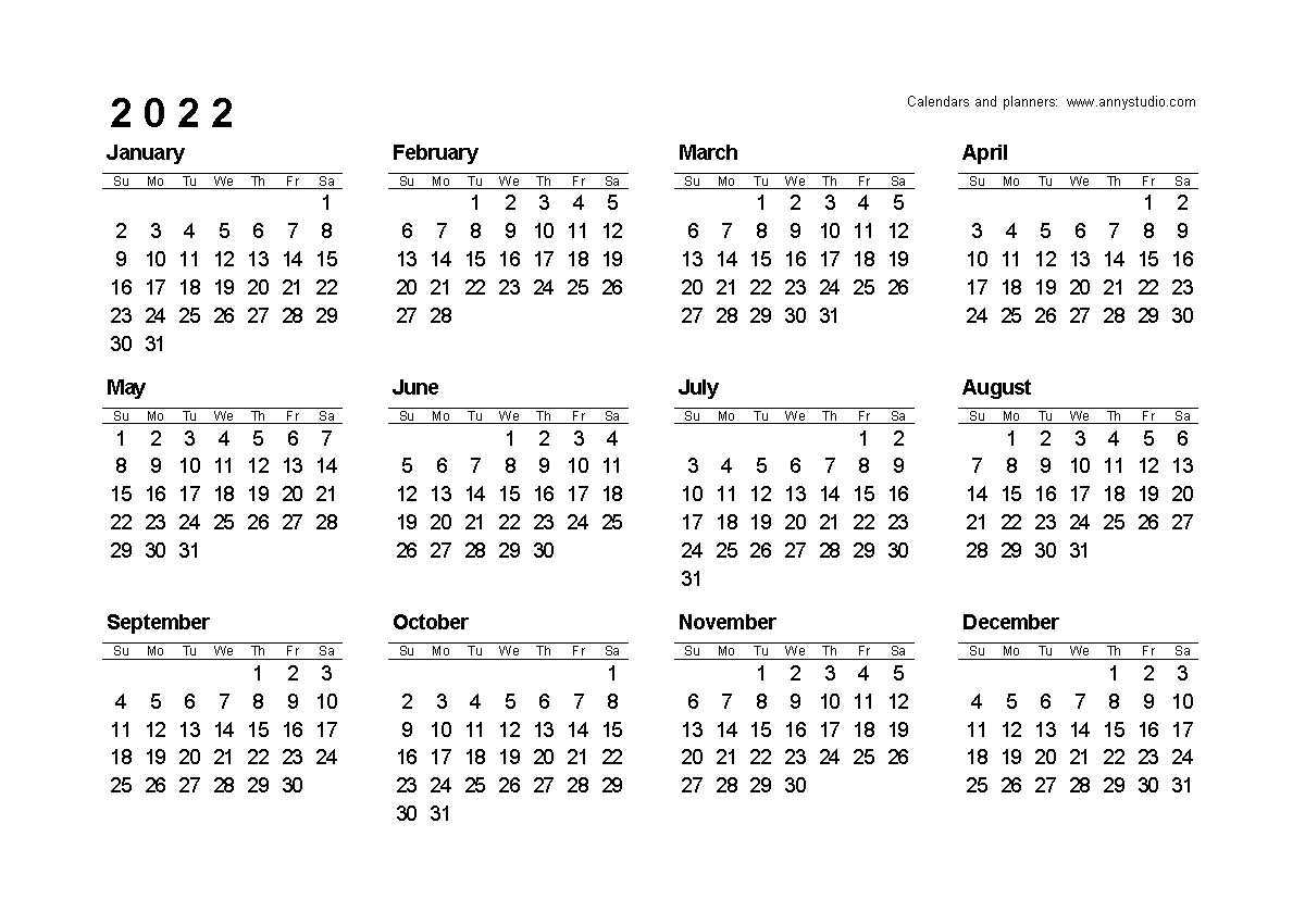 Free Printable Calendars And Planners 2020, 2021, 2022 in Small Yearly Calendars For 2021 And 2022