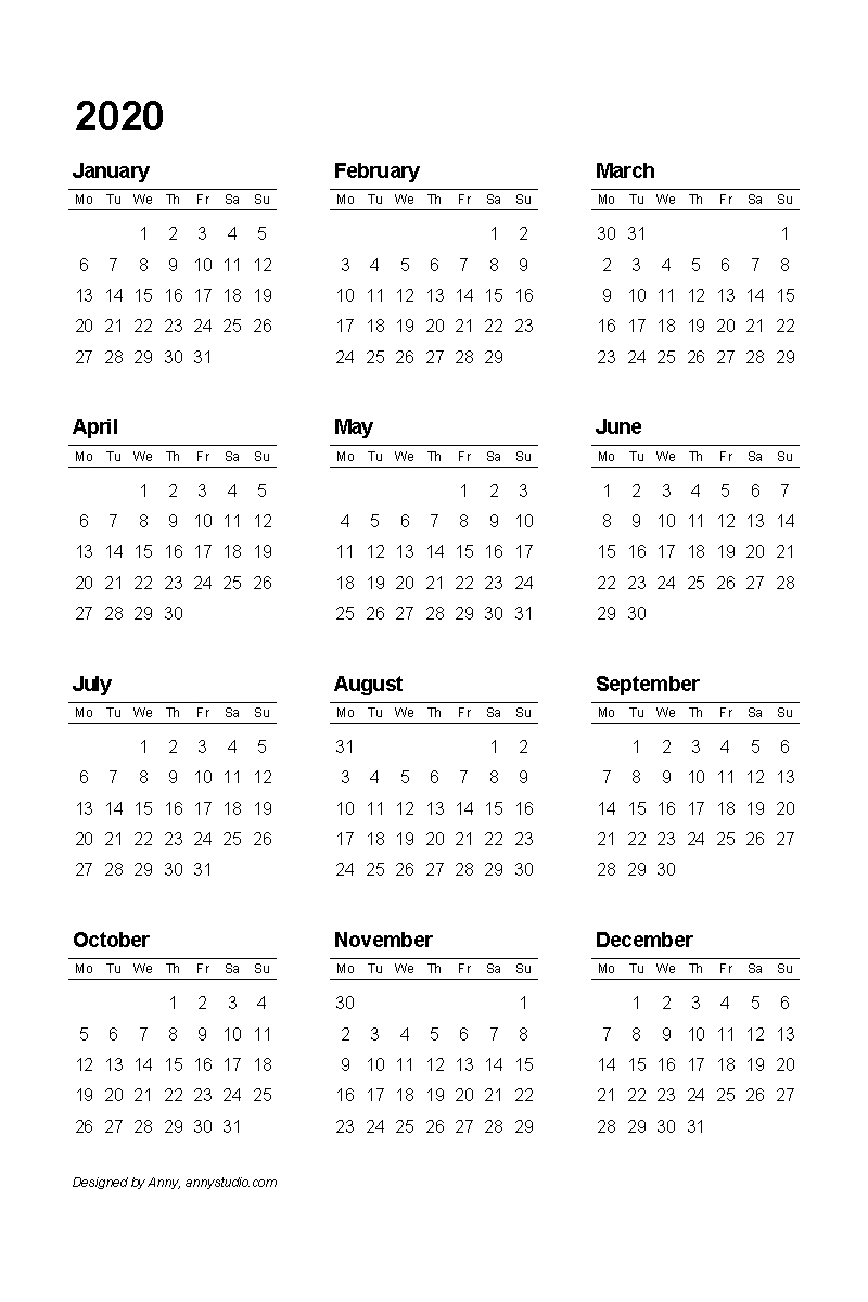 Free Printable Calendars And Planners 2020, 2021, 2022 inside 2020 Calendar That Starts With Monday