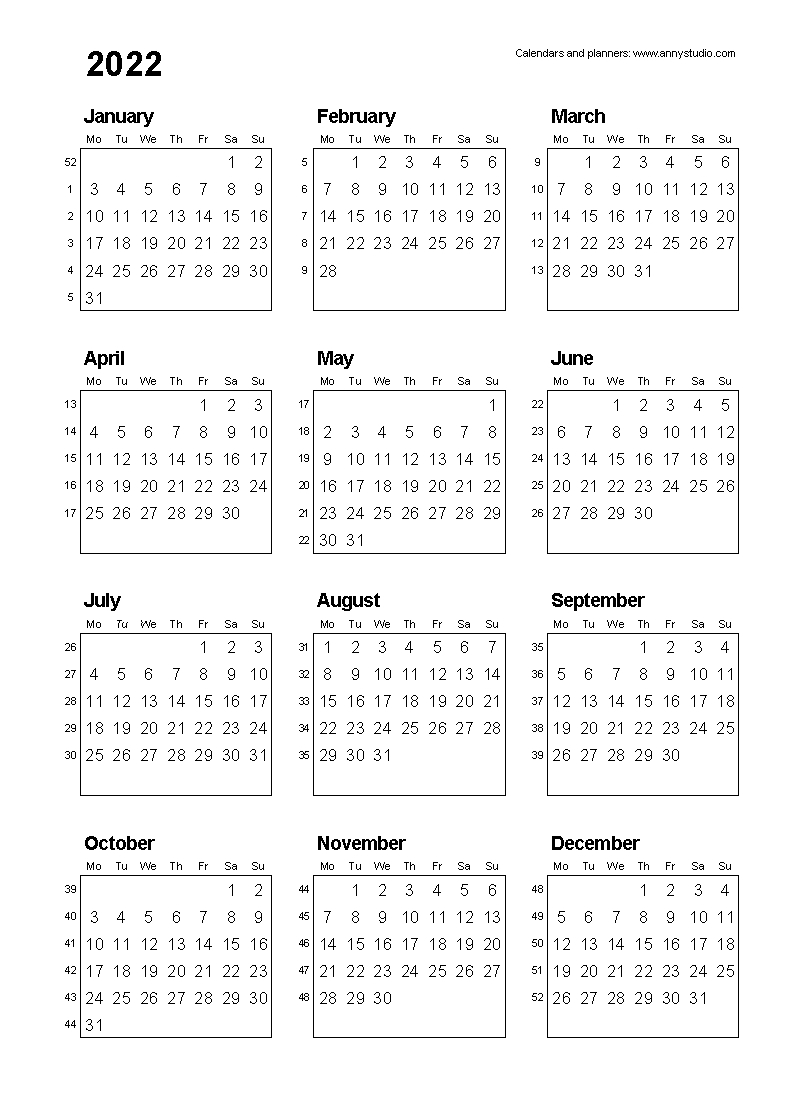 Free Printable Calendars And Planners 2020, 2021, 2022 intended for 2020 Calendar With Monday Start Week