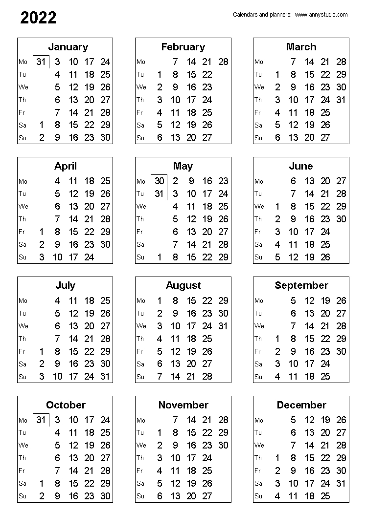 Free Printable Calendars And Planners 2020, 2021, 2022 intended for Small Yearly Calendars For 2021 And 2022