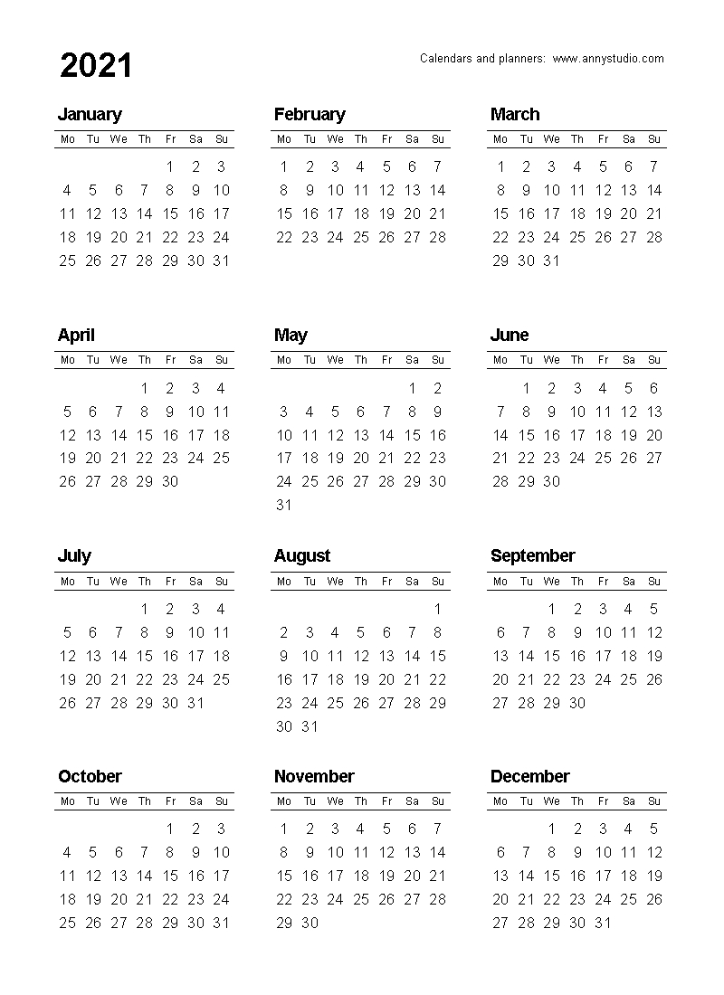 Free Printable Calendars And Planners 2020, 2021, 2022 throughout 2020 Calendar Year To A Page