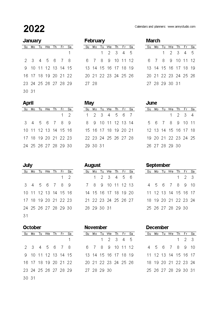 Free Printable Calendars And Planners 2020, 2021, 2022 with regard to Small Yearly Calendars For 2021 And 2022
