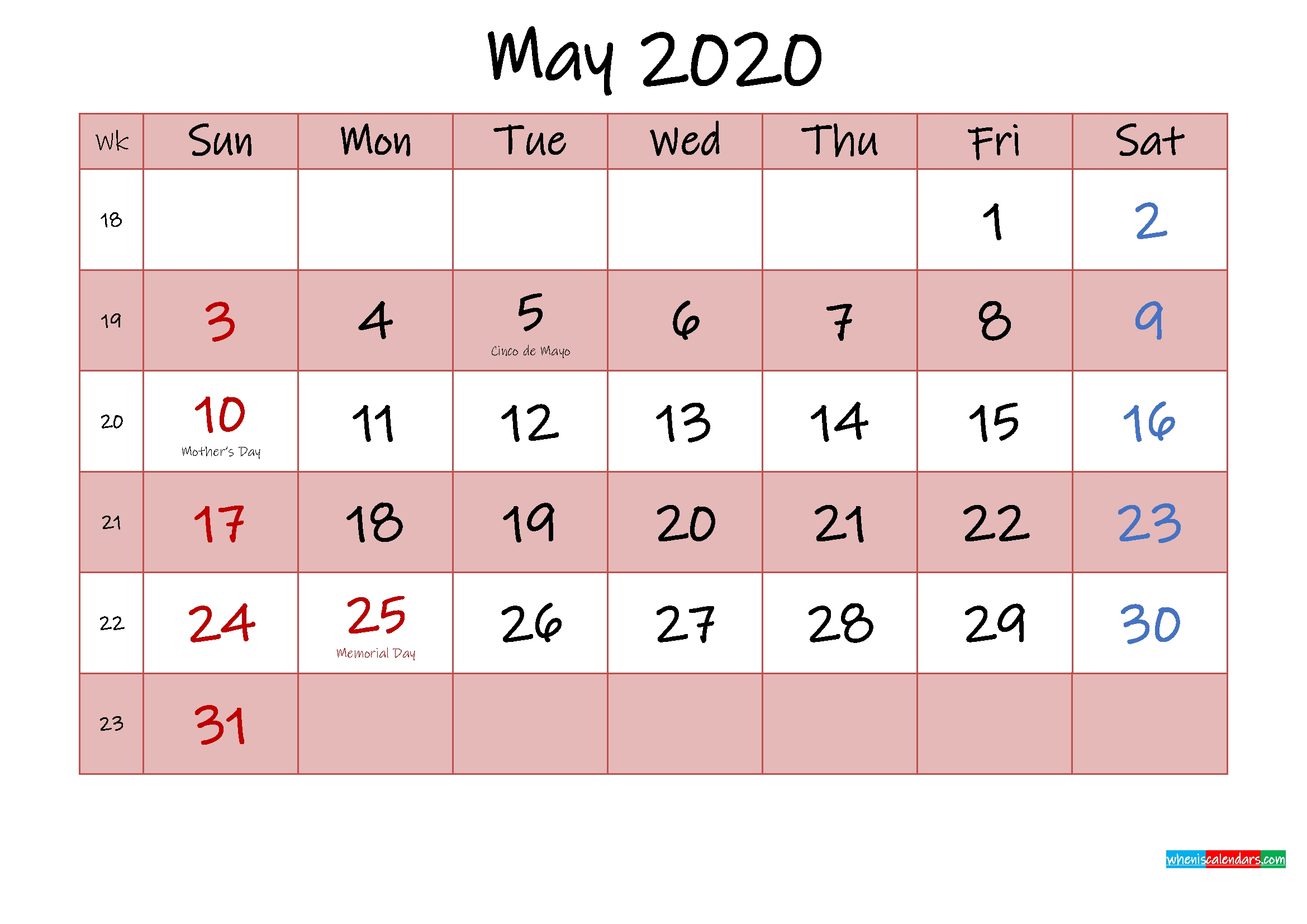 Free Printable Coloring Calendar 2020 May – Template No intended for Free Printable Coloring Calendar 2020