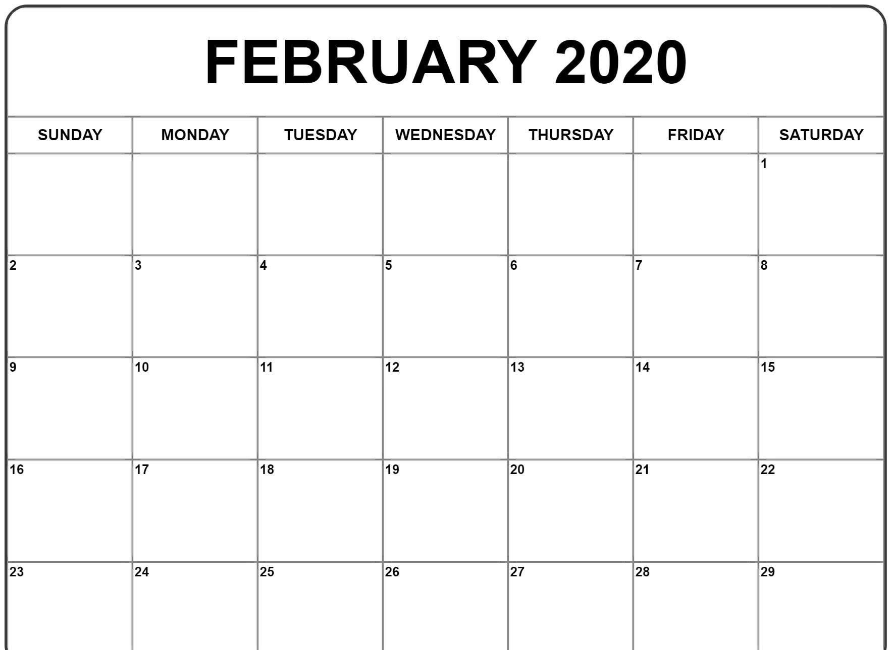 Free Printable February 2020 Blank Calendar Templates intended for Printable Fill In 2020 Calndar