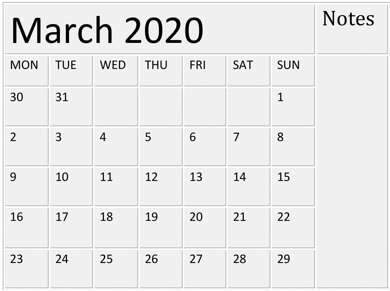 Free Printable March 2020 Calendarmonth Template - Free inside Free Printable Monthly 2020 Calendar