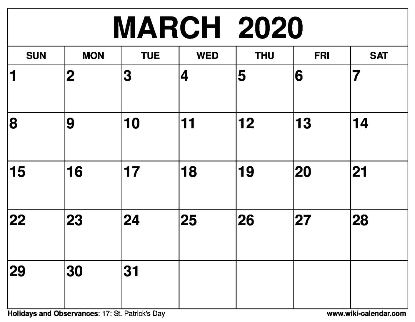 Free Printable March 2020 Calendars for Free Printable 2020 Calendars You Don't Have To Download