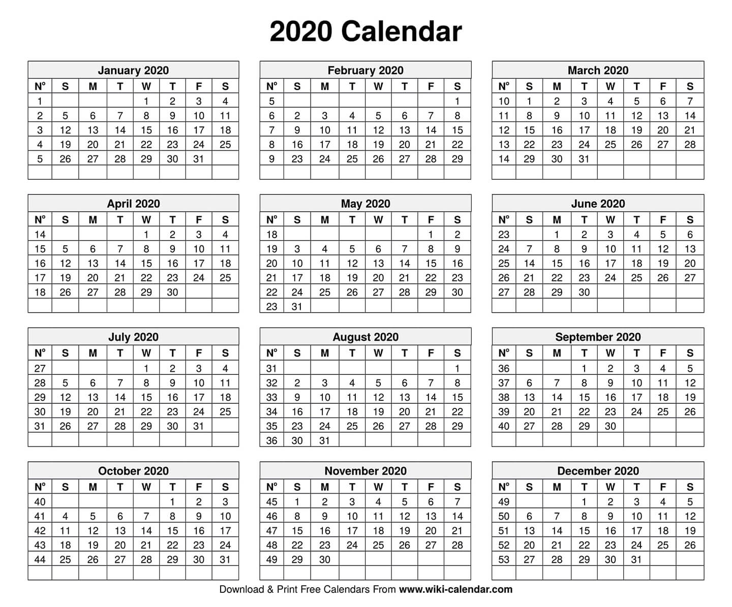 Free Printable Year 2020 Calendar in Printable Template For Blank 2020 Year At A Glance Calendar
