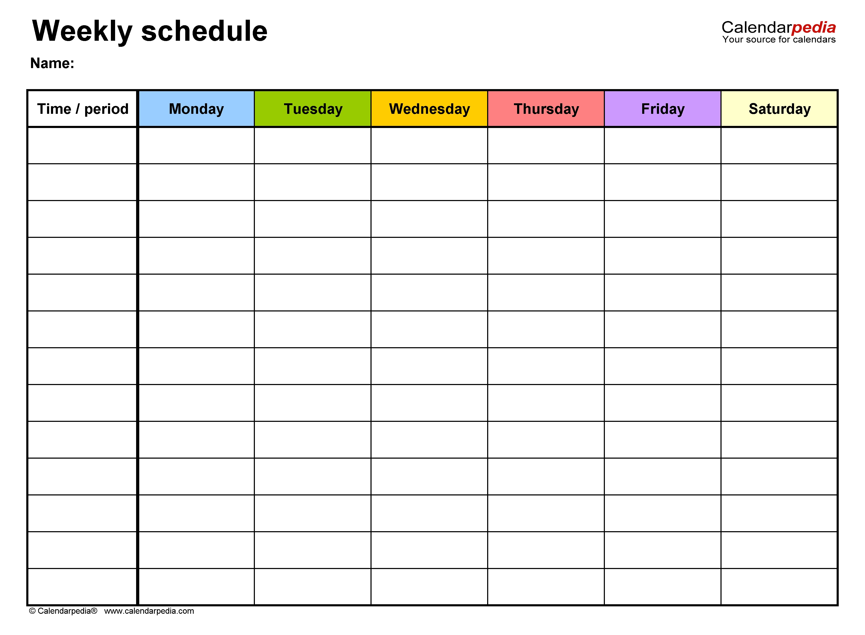 Free Weekly Schedule Templates For Excel - 18 Templates intended for One Week Calendar With Hours