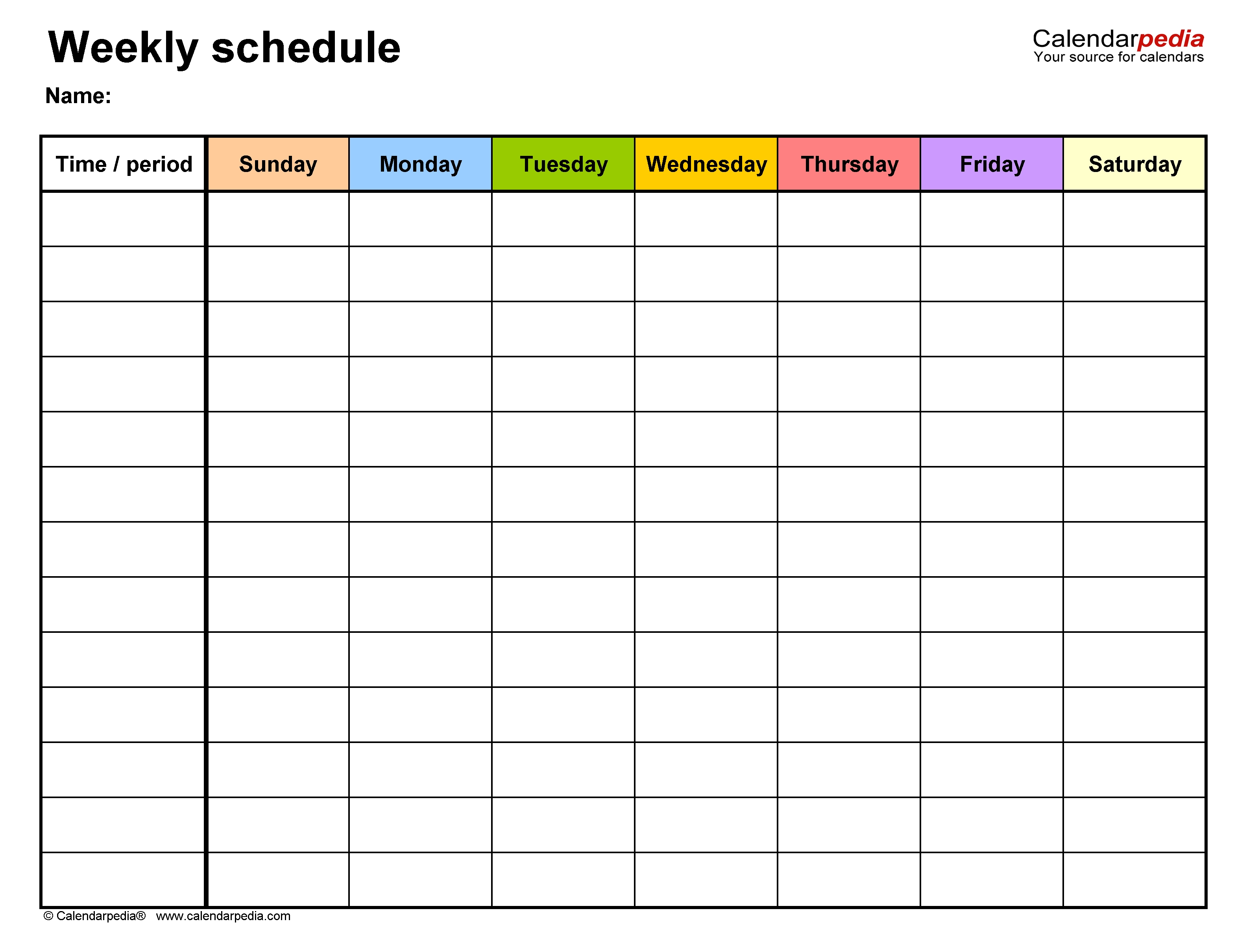 Free Weekly Schedule Templates For Pdf - 18 Templates regarding Weekly Planner With Times Pdf