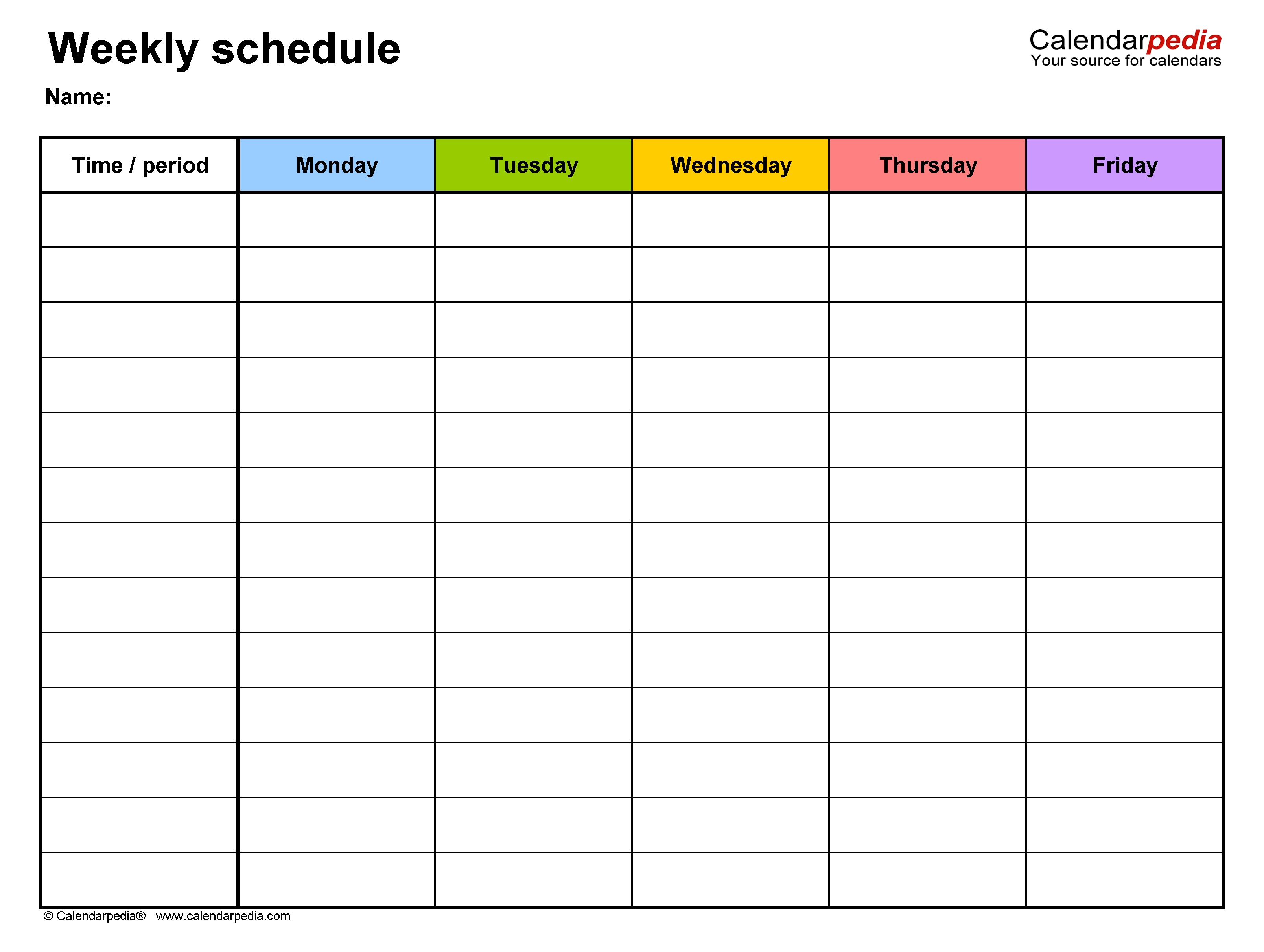 Free Weekly Schedule Templates For Word - 18 Templates with Monday Through Friday Appointment Calendar
