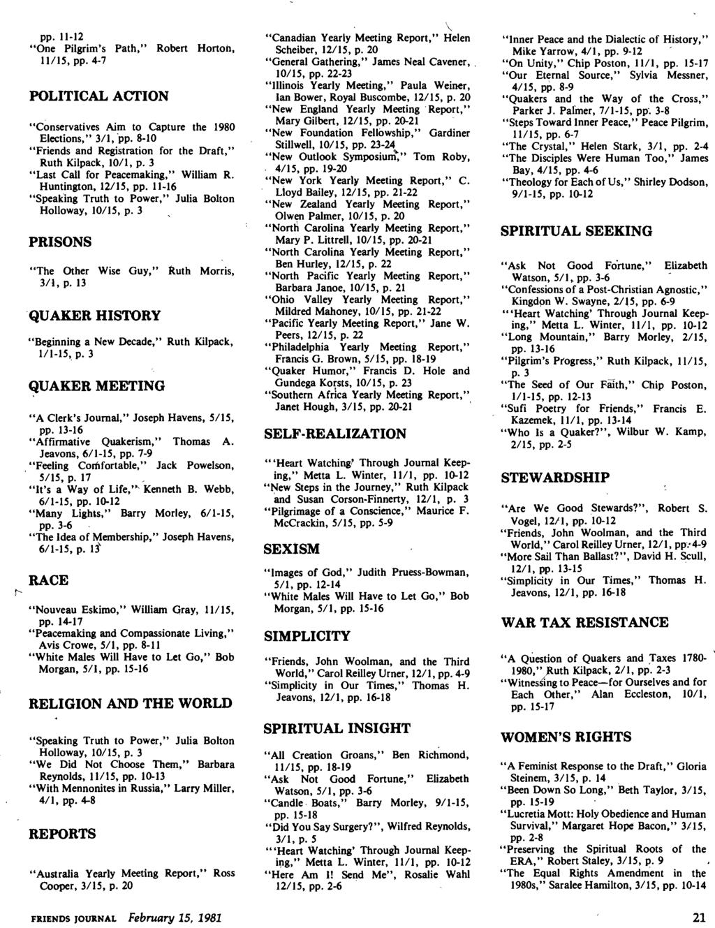 Friends Journal 1955 Index To Volume 1. Weekly Issues From regarding This Week's Torah Portion 10/15/19