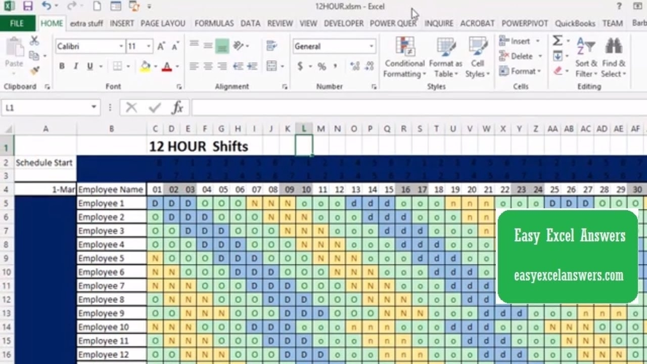 How To Make An Automatic 12-Hour Shift Schedule regarding 12 Hour Shift Calendar Templates